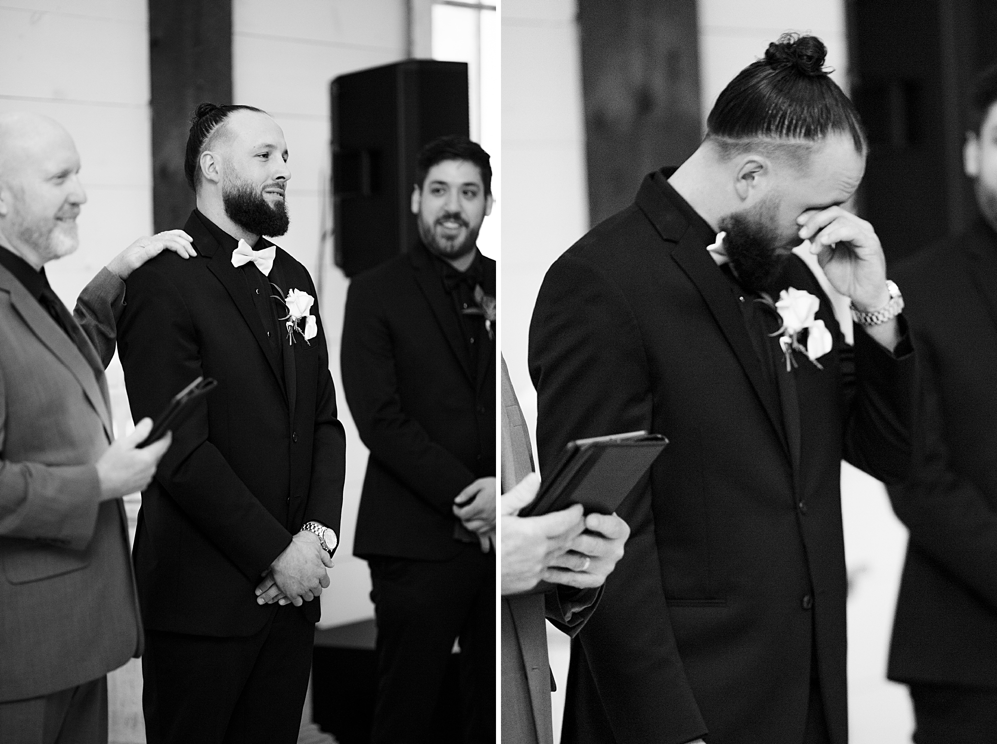 groom cries seeing bride come down the aisle