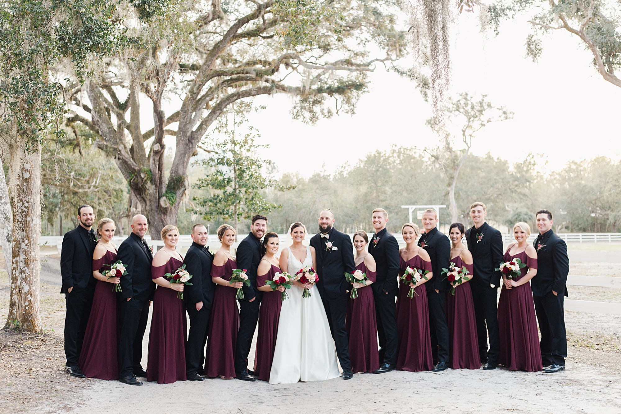 burgundy and black wedding party