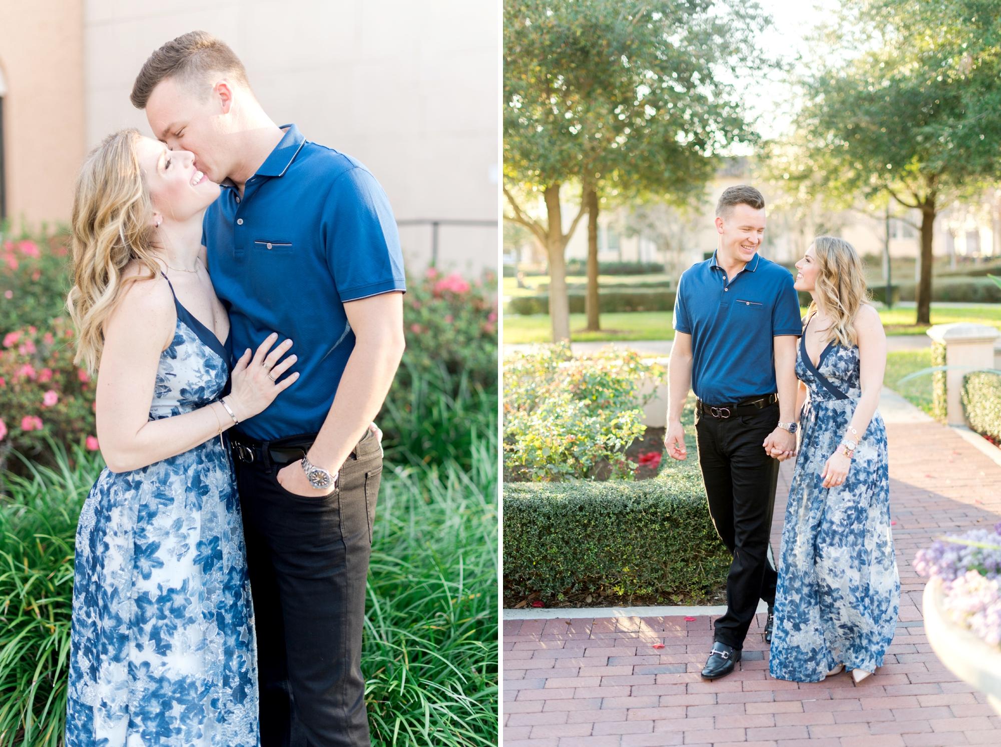 blue engagement photos dress