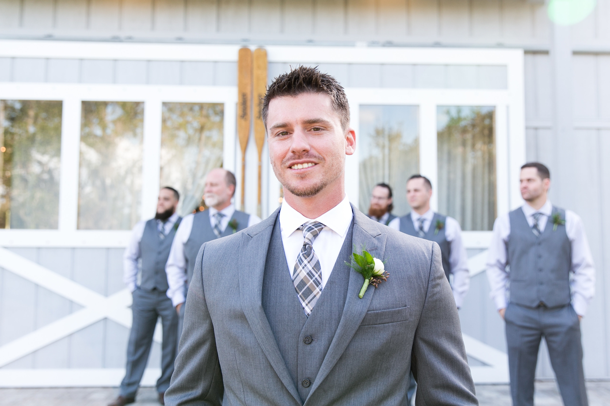 gray groom's attire
