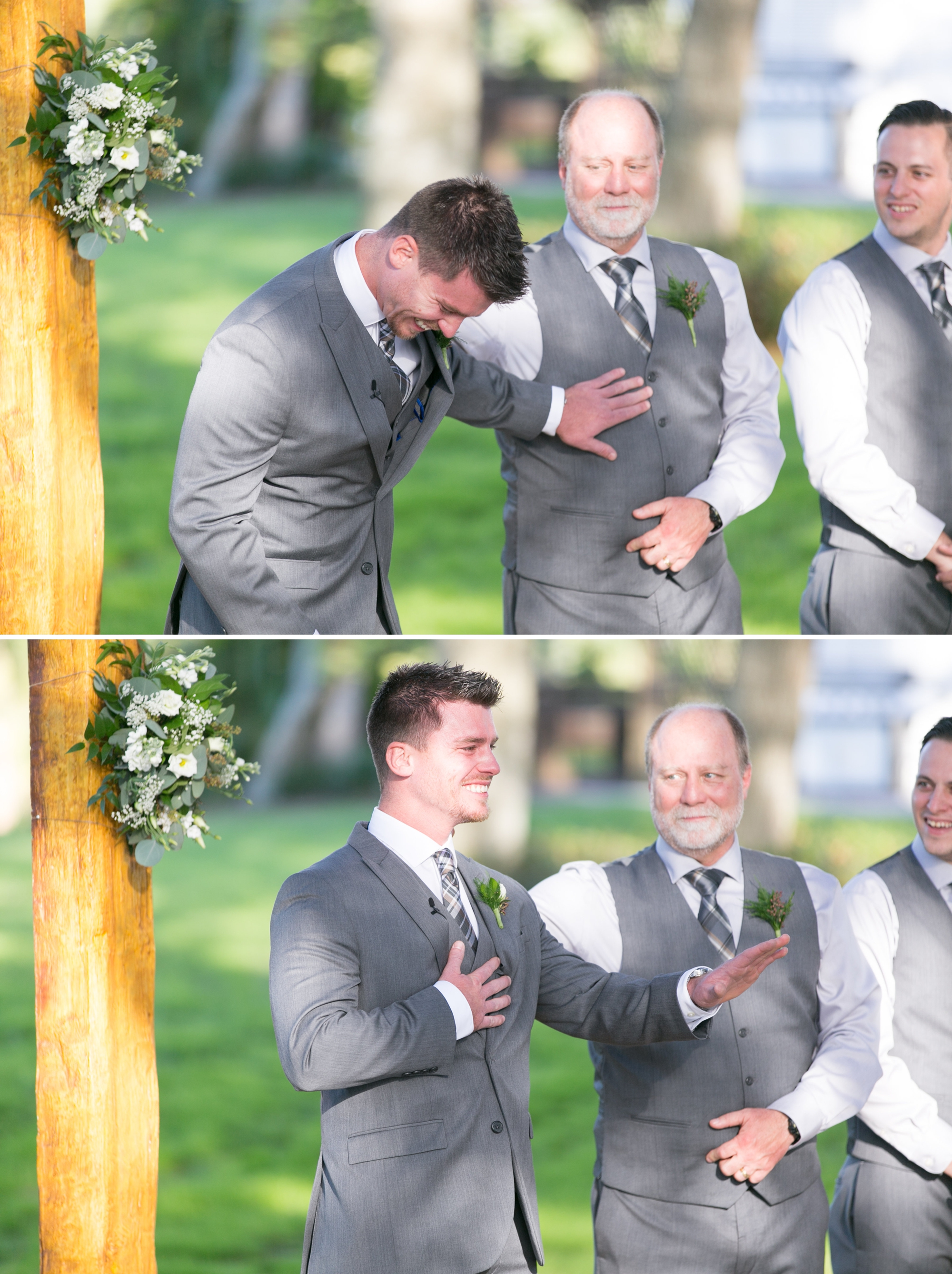 groom reaction to bride walking down aisle