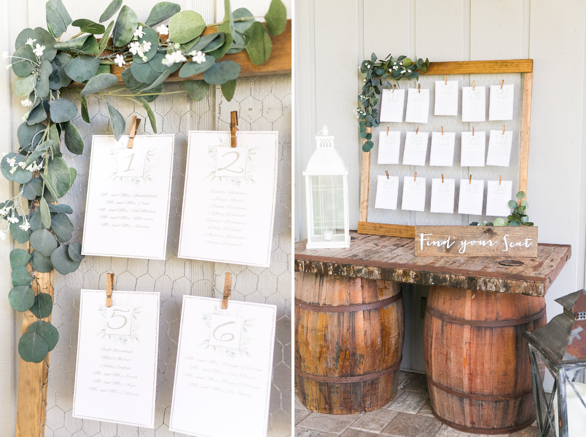 rustic escort card station