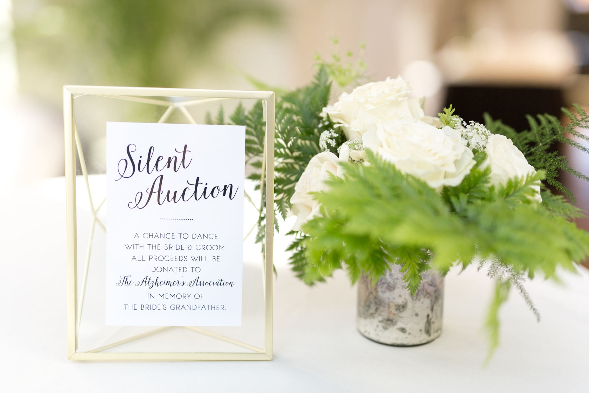 silent auction for wedding sign