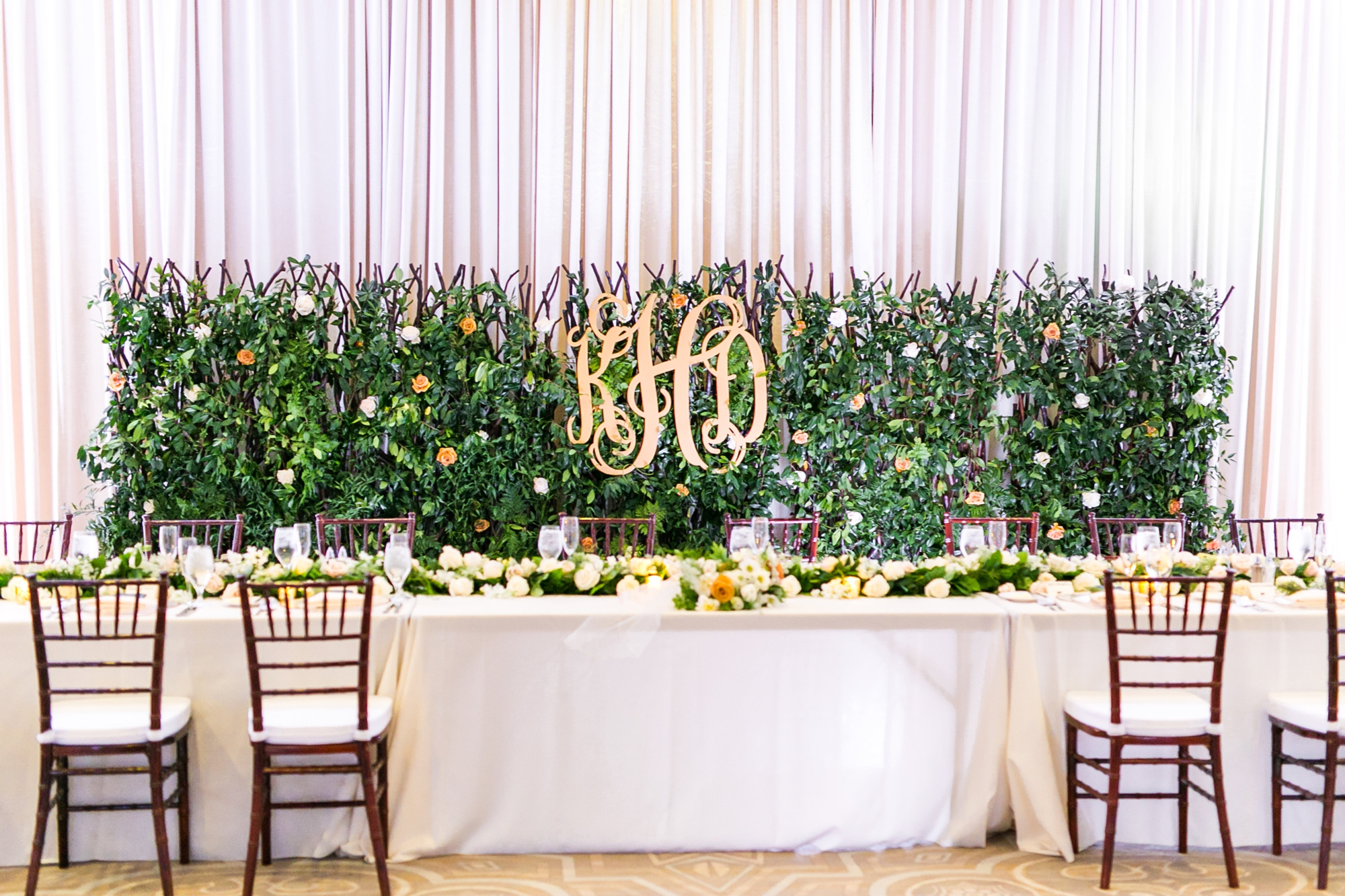 gold monogram wedding sign