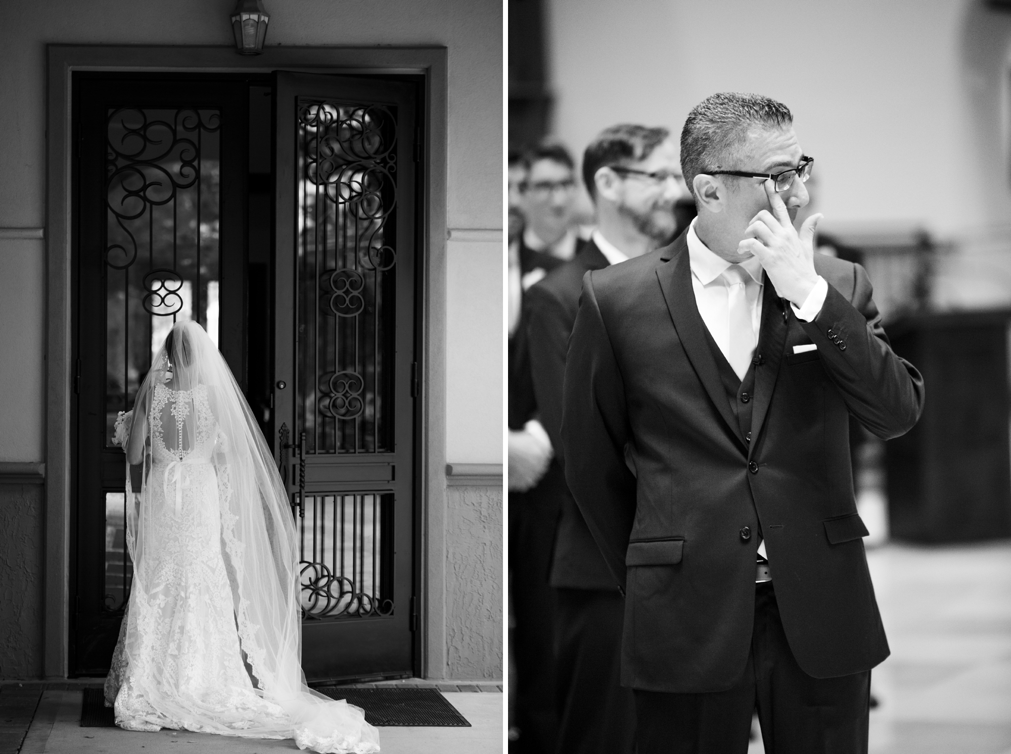 groom cries when bride walks down aisle