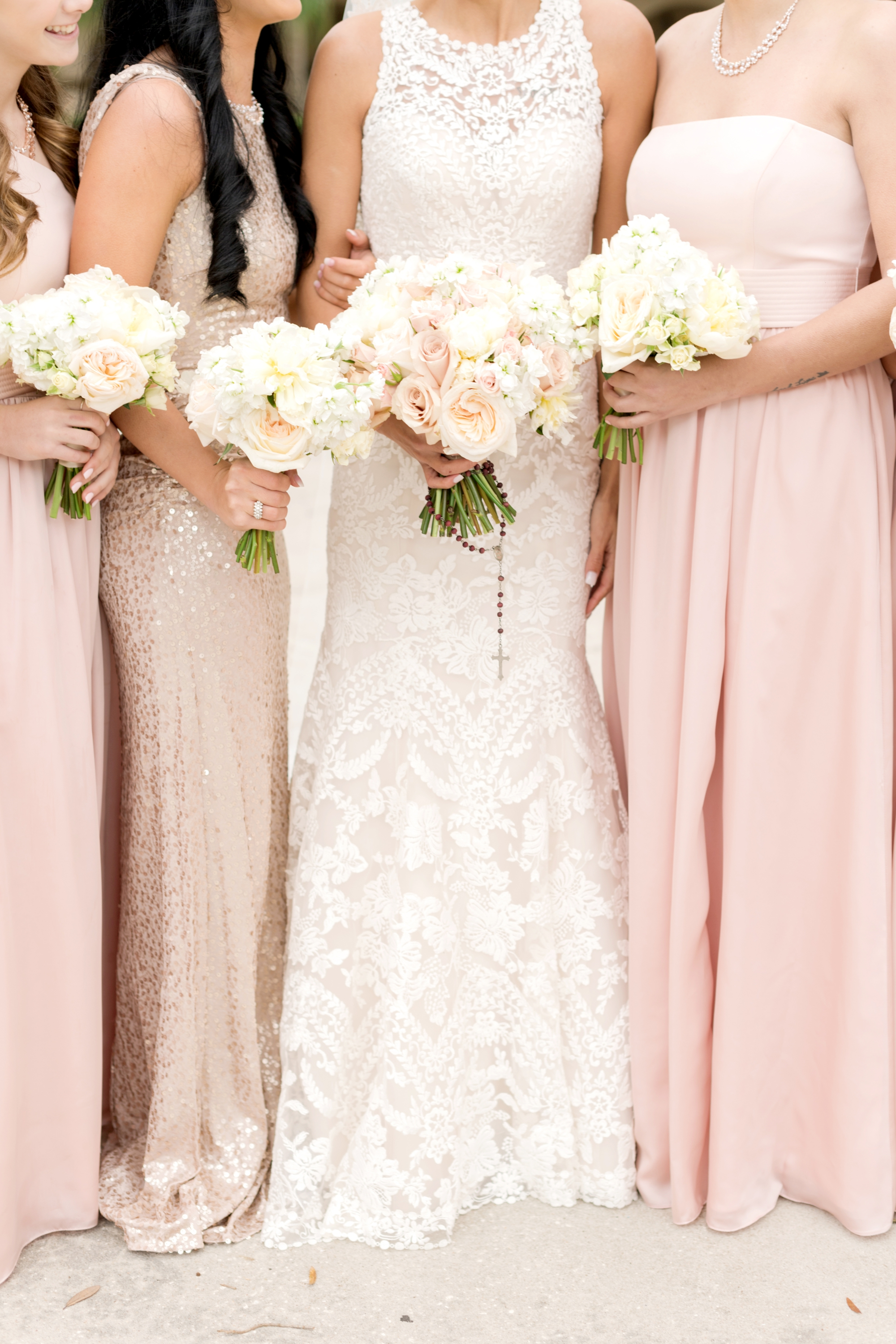 bridal party dresses and flowers