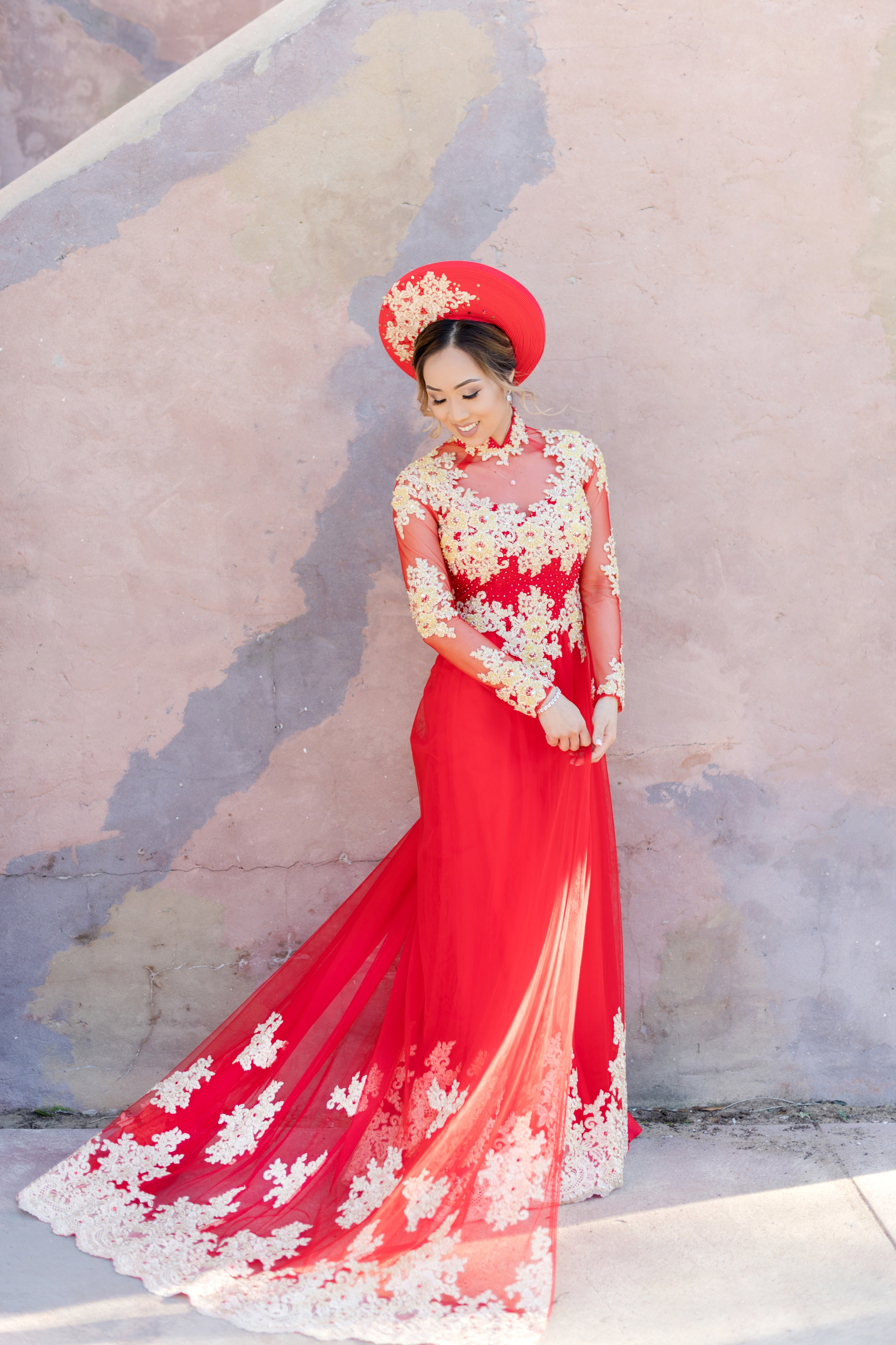 red Vietnamese wedding outfit