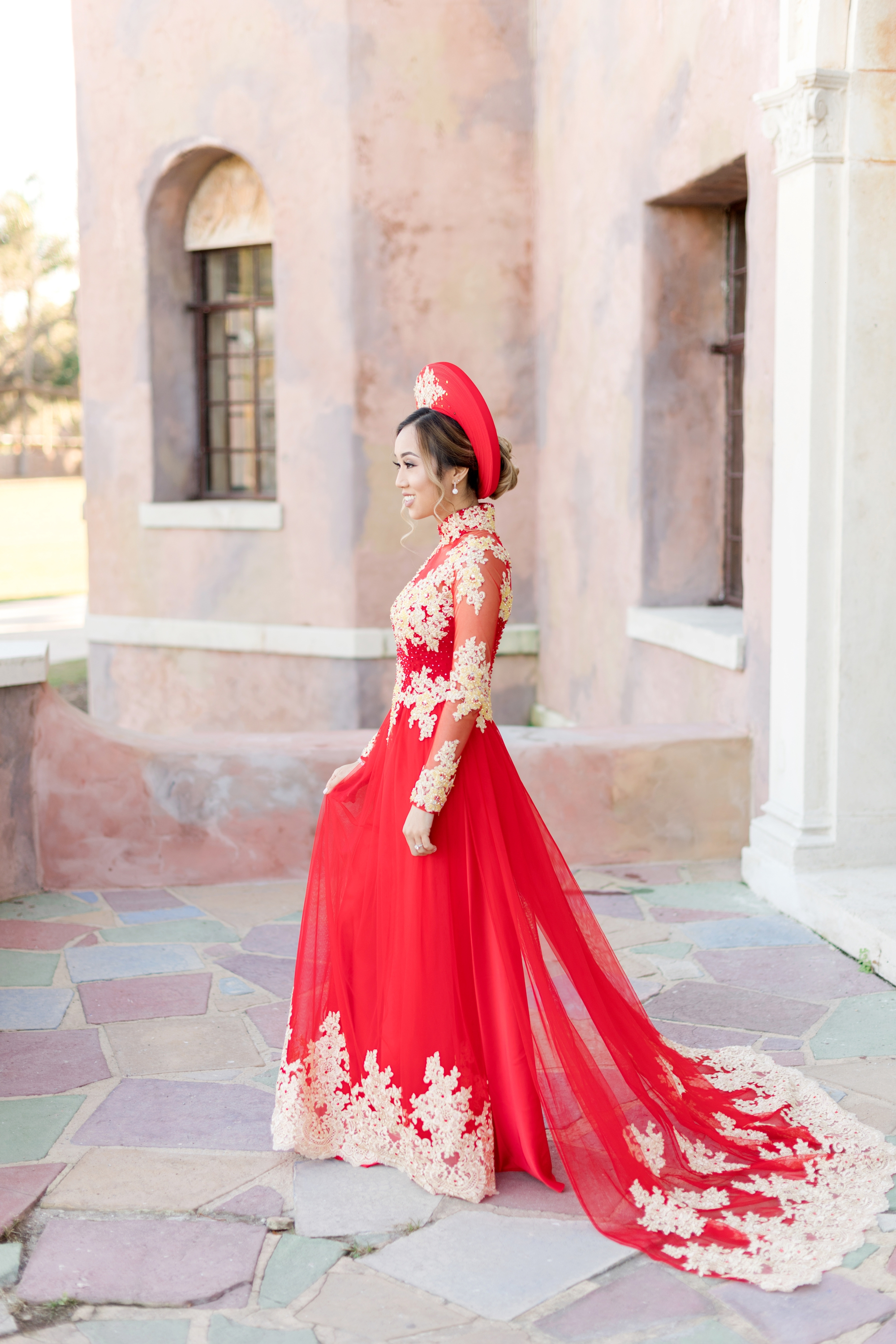 red and gold wedding dress for Vietnamese ceremony