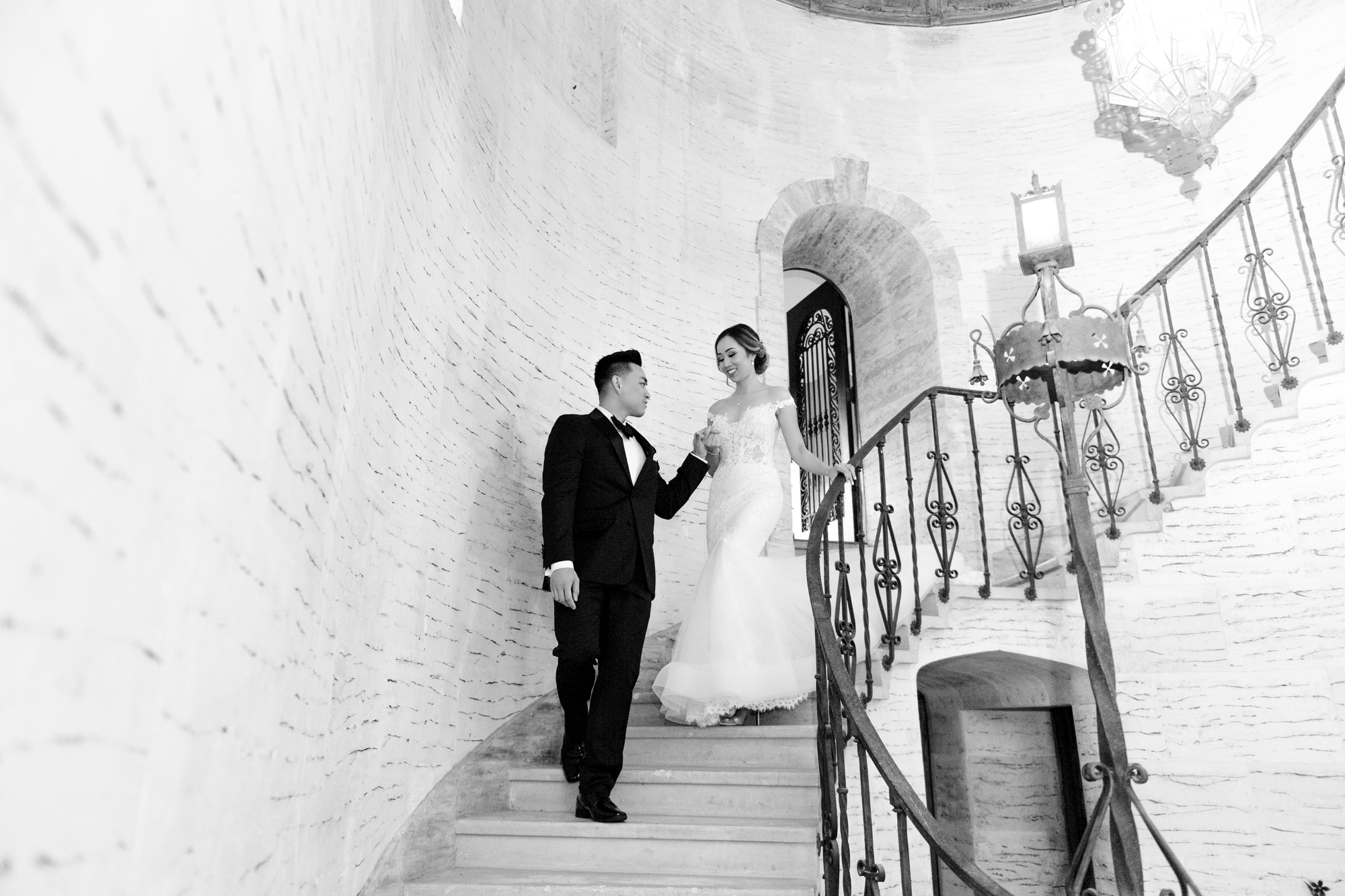 elegant stair wedding photo