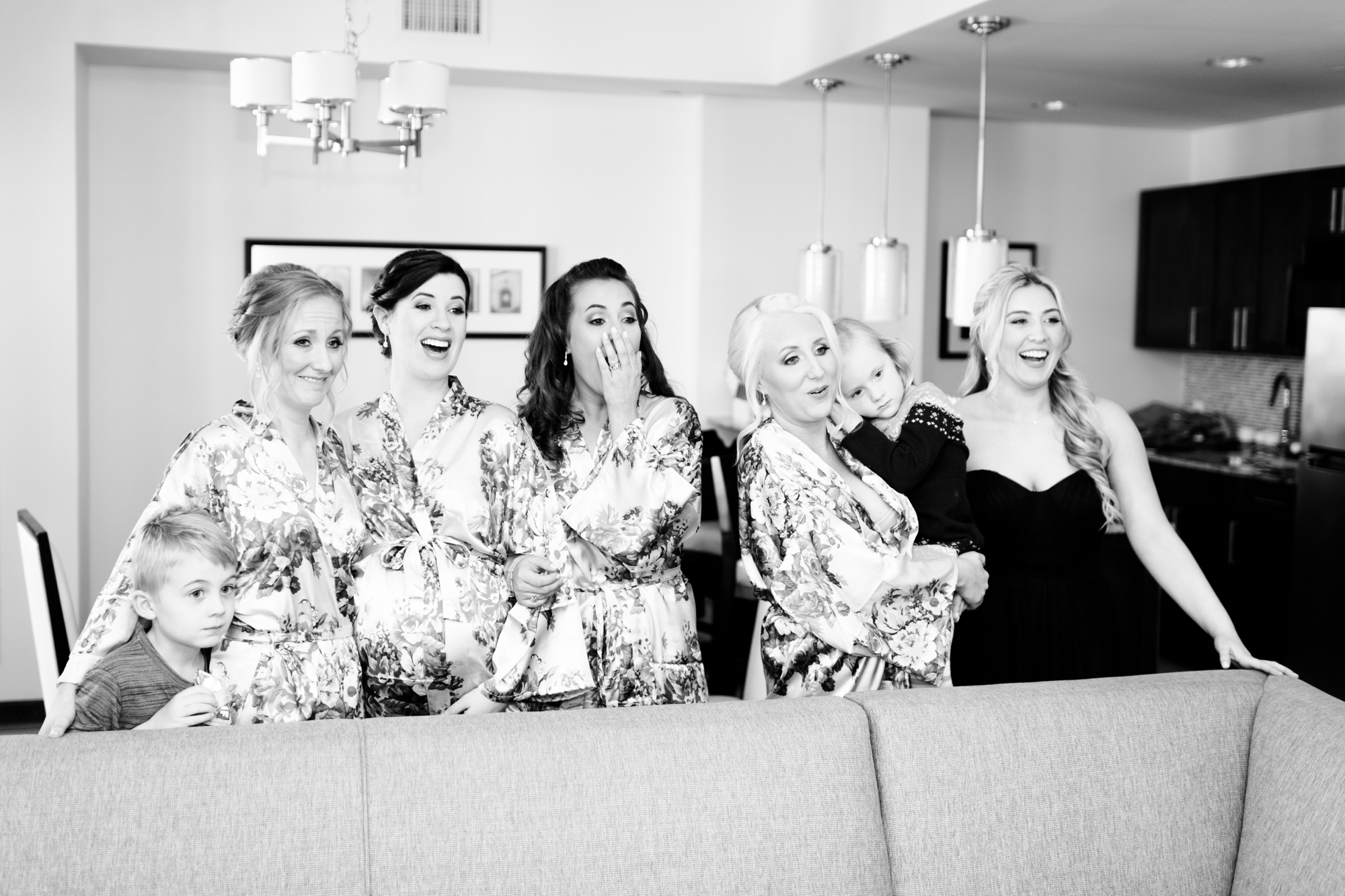wedding dress reveal to bridesmaids