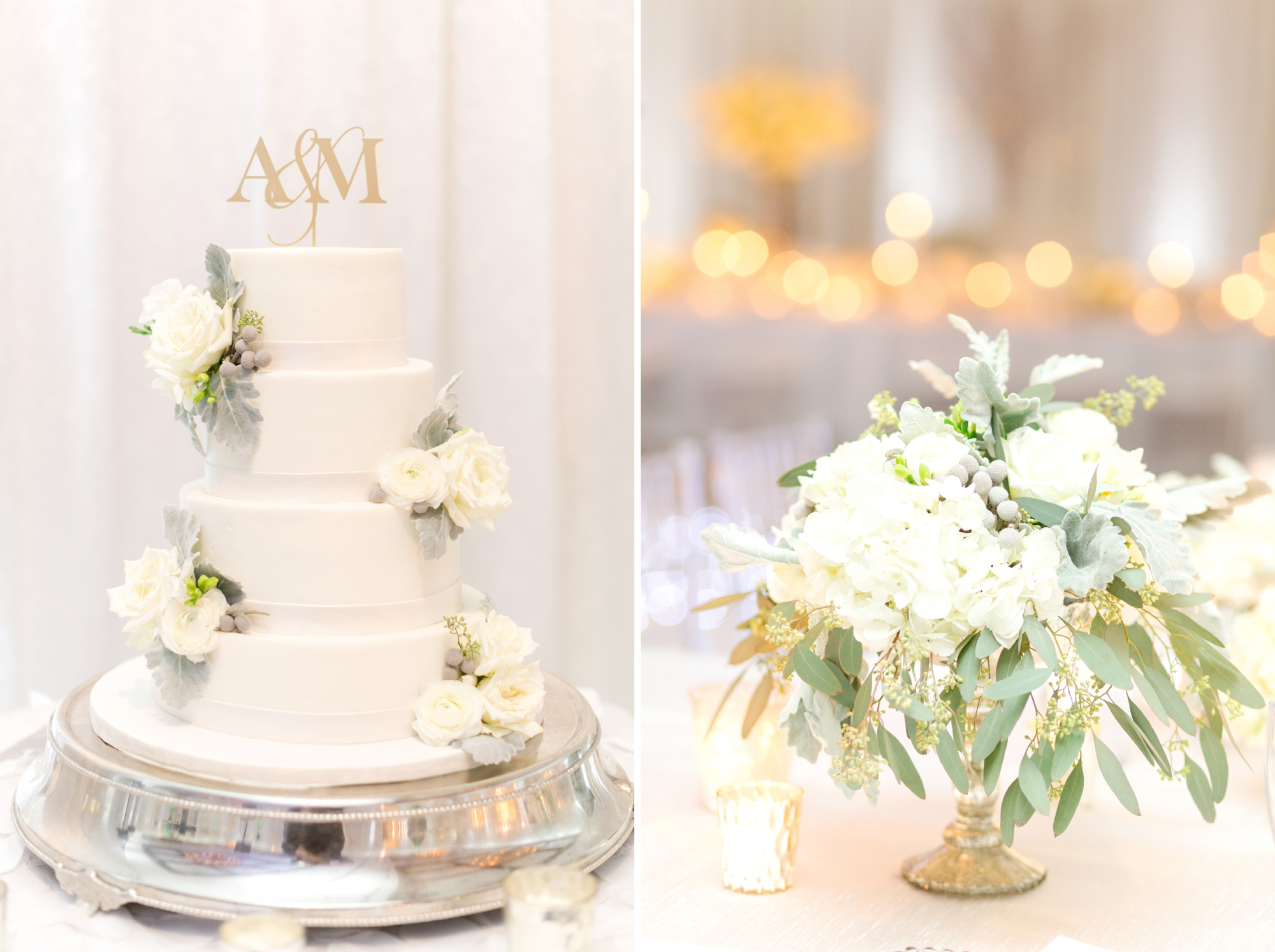 winter wedding cake with custom monogrammed cake topper