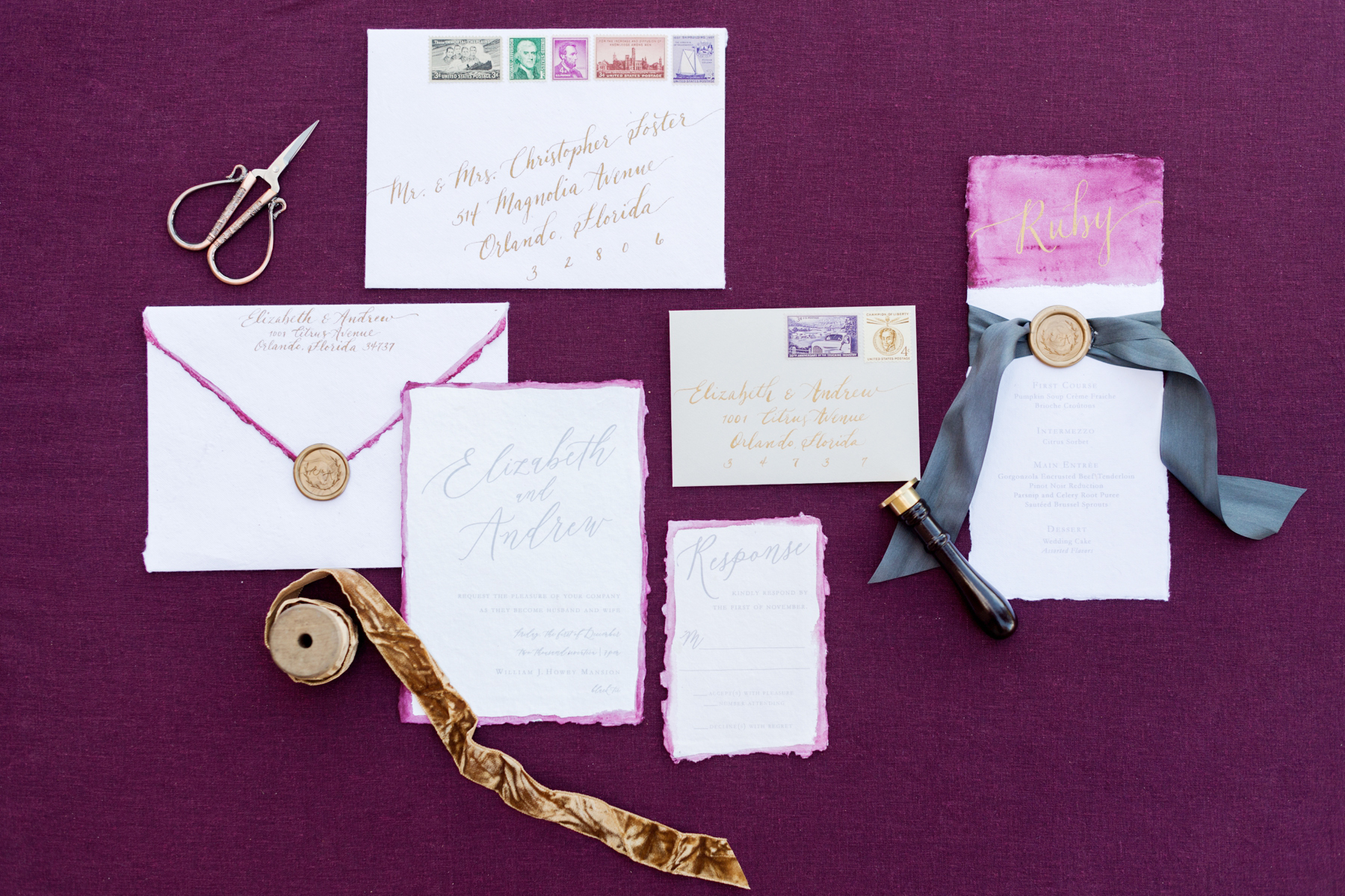 jewel toned watercolor stationery