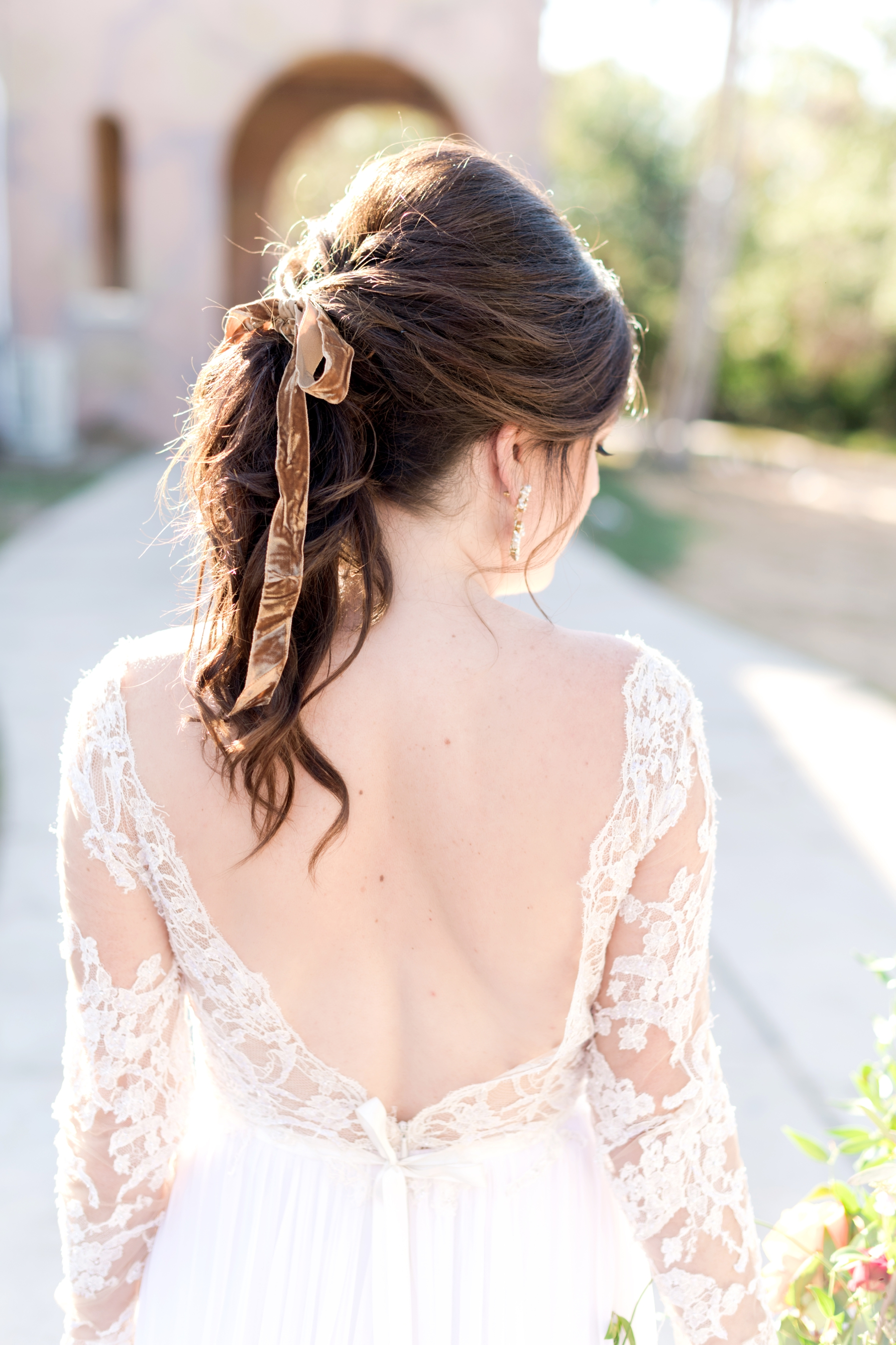 bridal hair - velvet ribbon ponytail