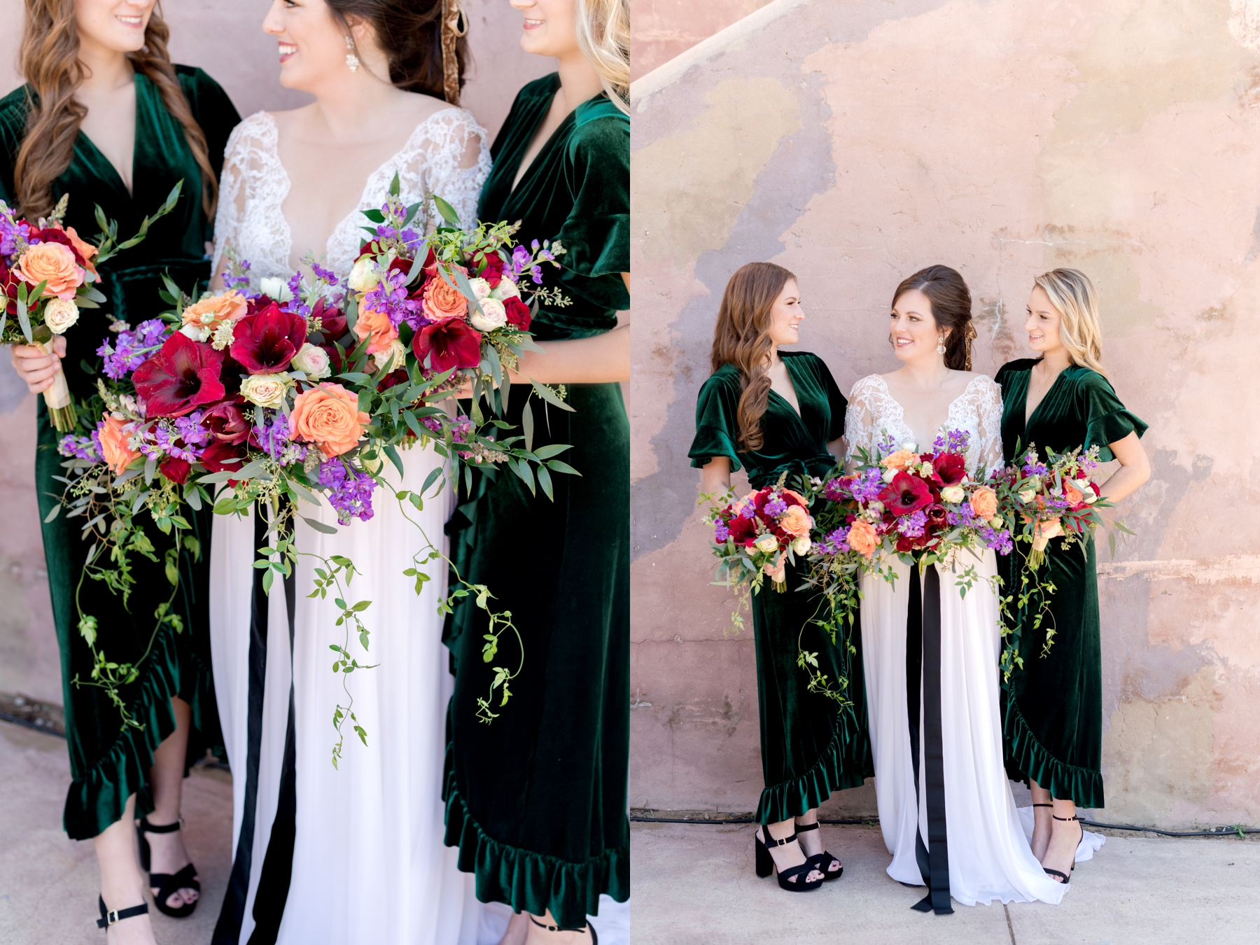 emerald green velvet bridesmaid dresses