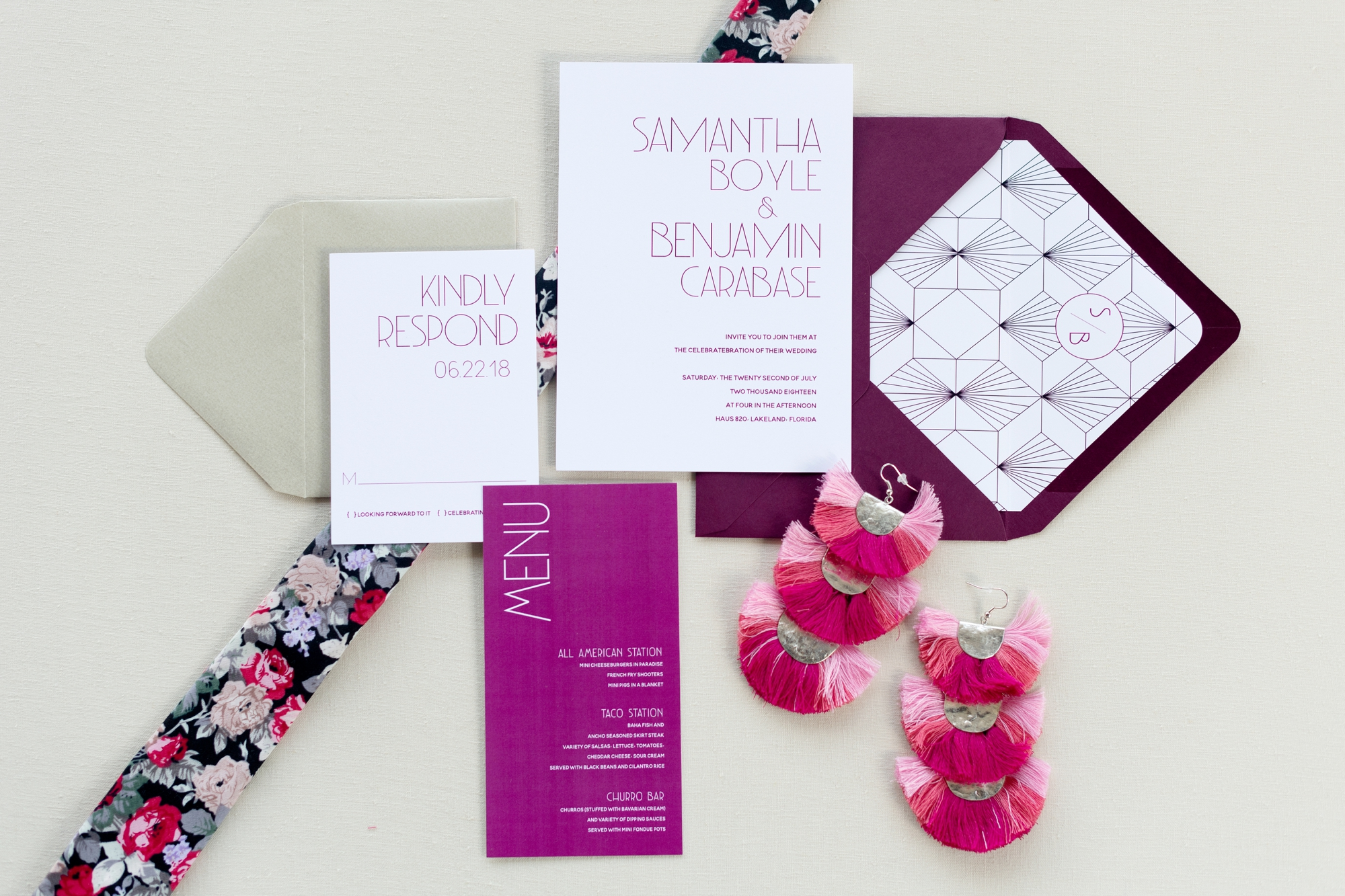 pink art deco wedding stationery