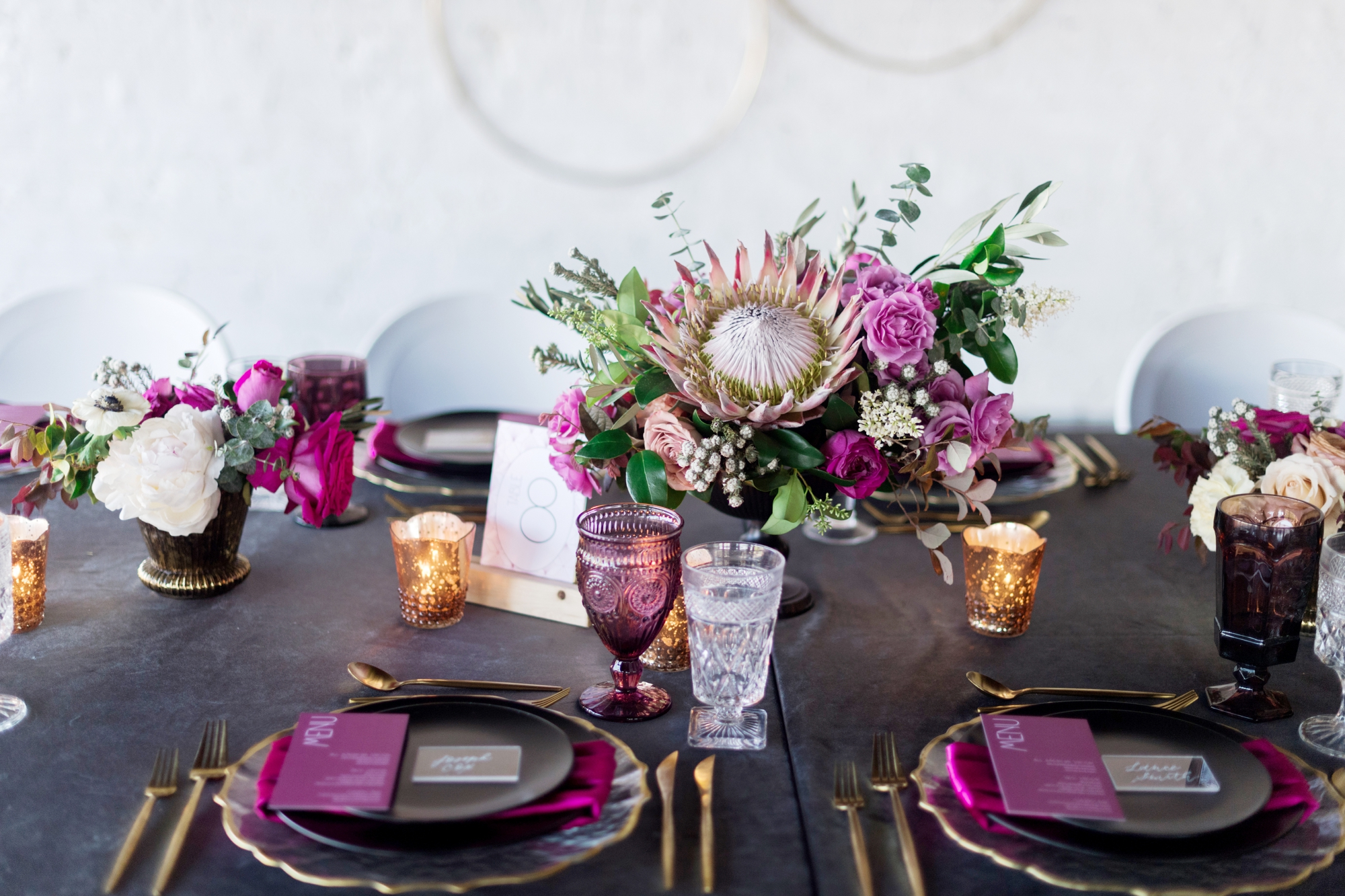 gray and purple color scheme for wedding