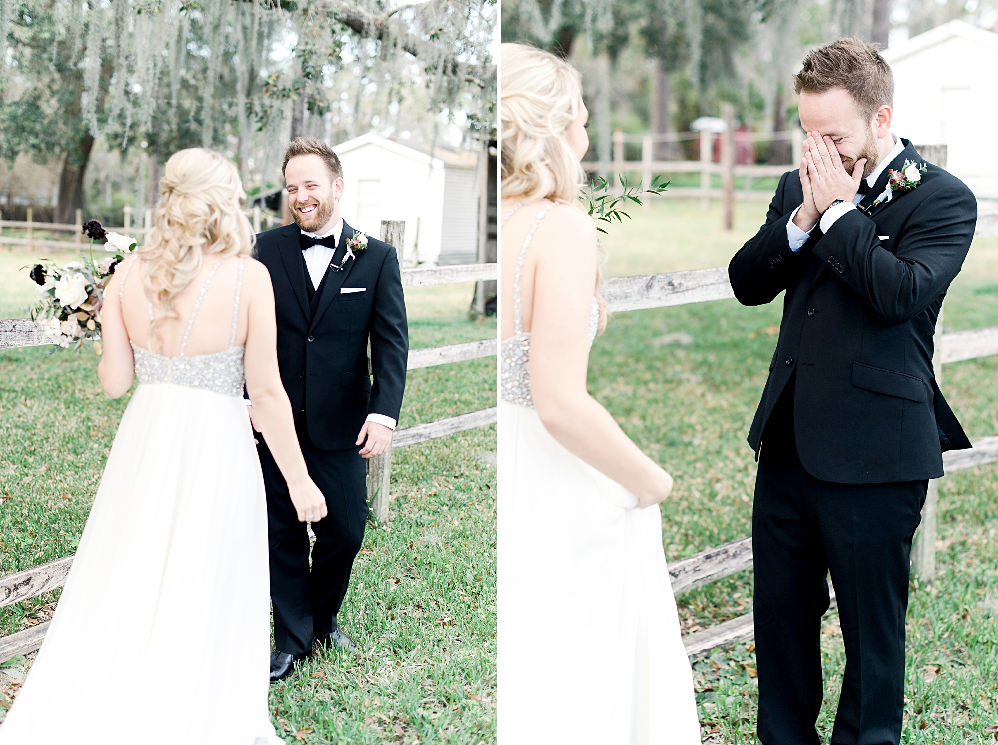 groom cries at first look