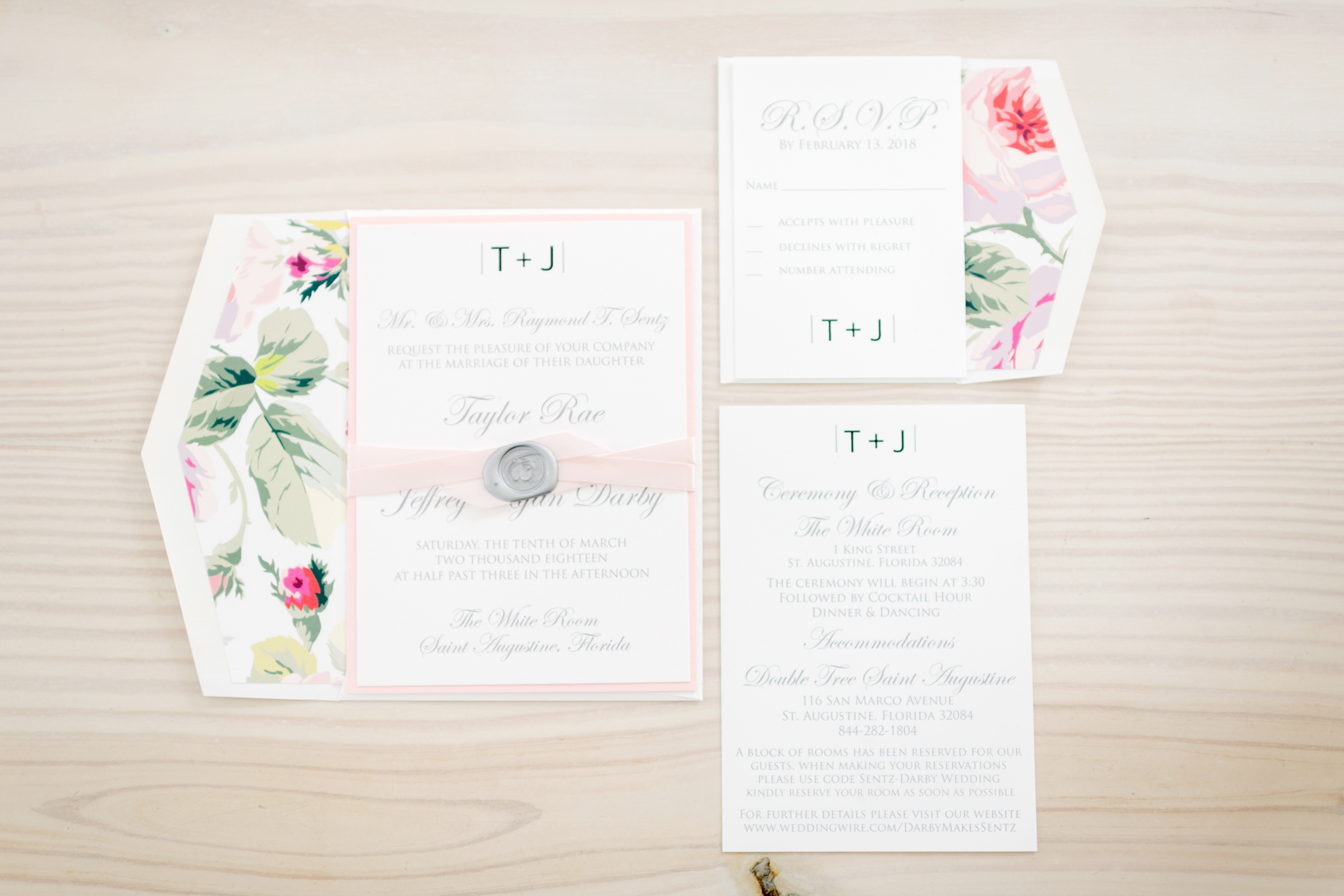 pastel and floral wedding invitations