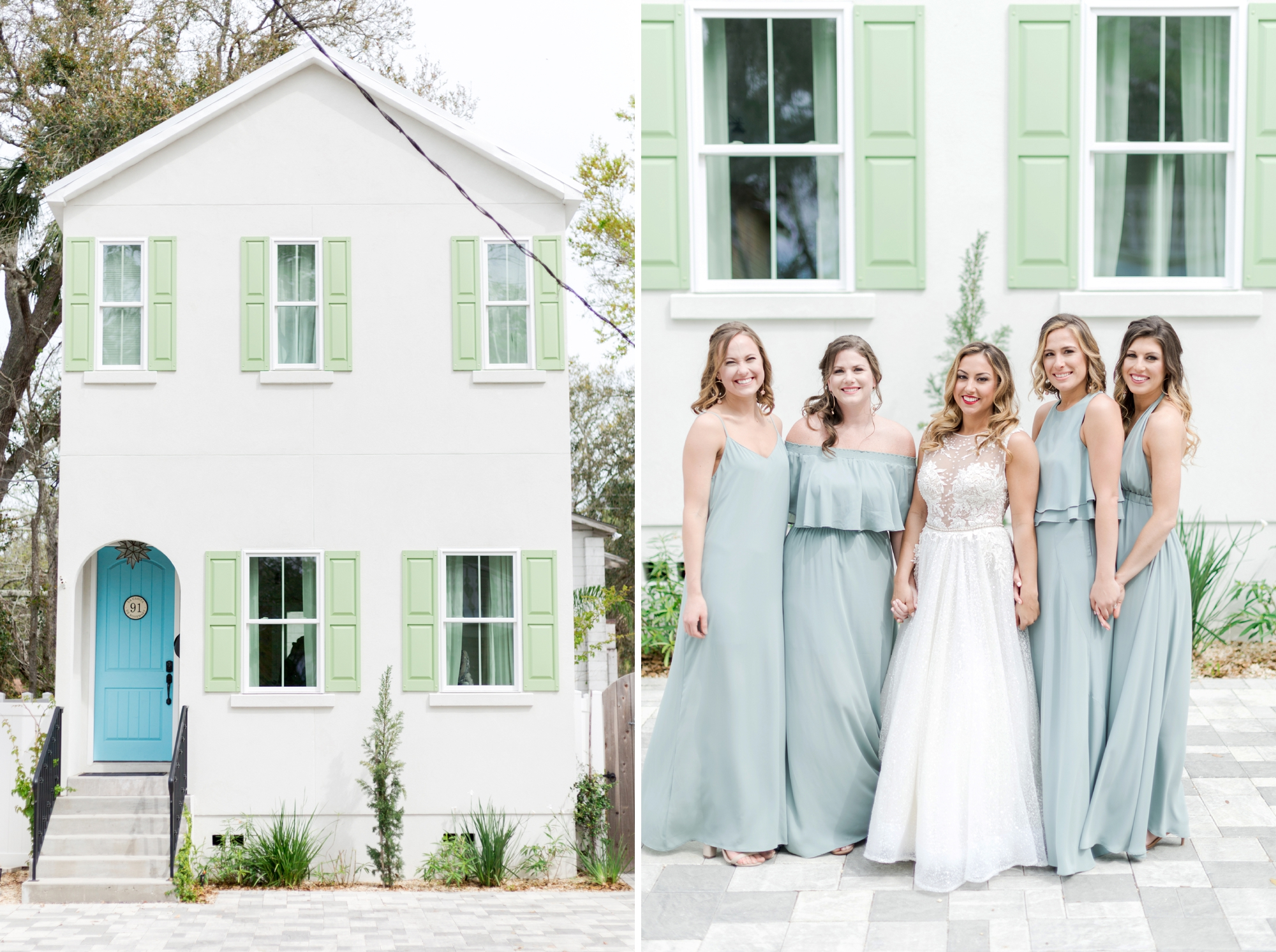 teal bridesmaids gowns
