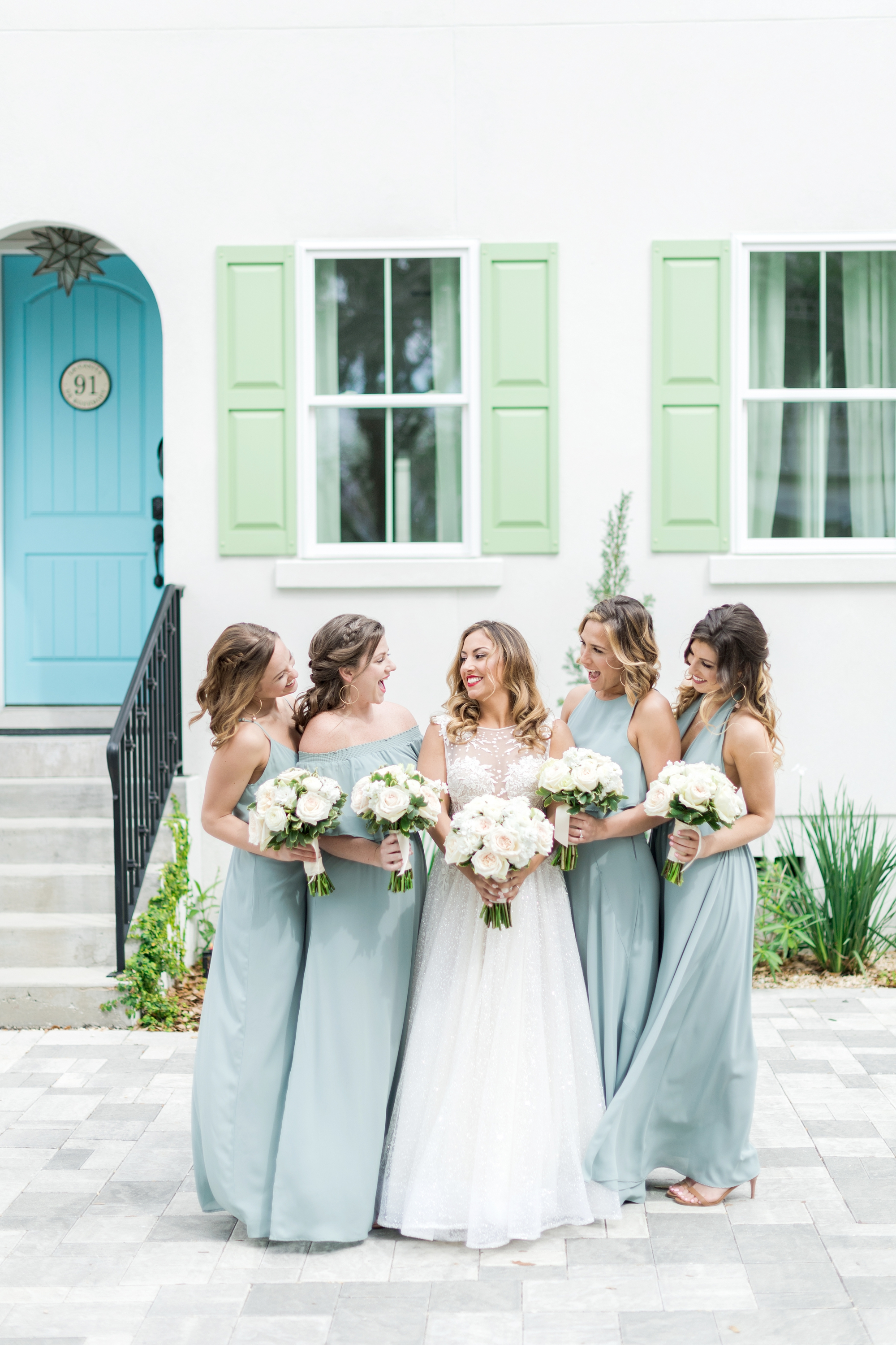 green bridesmaids gowns