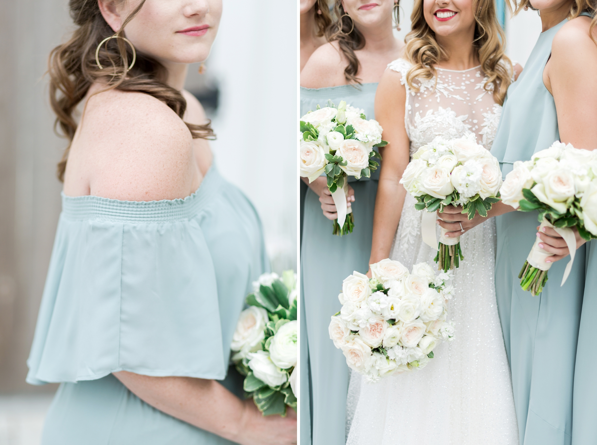 off the shoulder bridesmaids dress