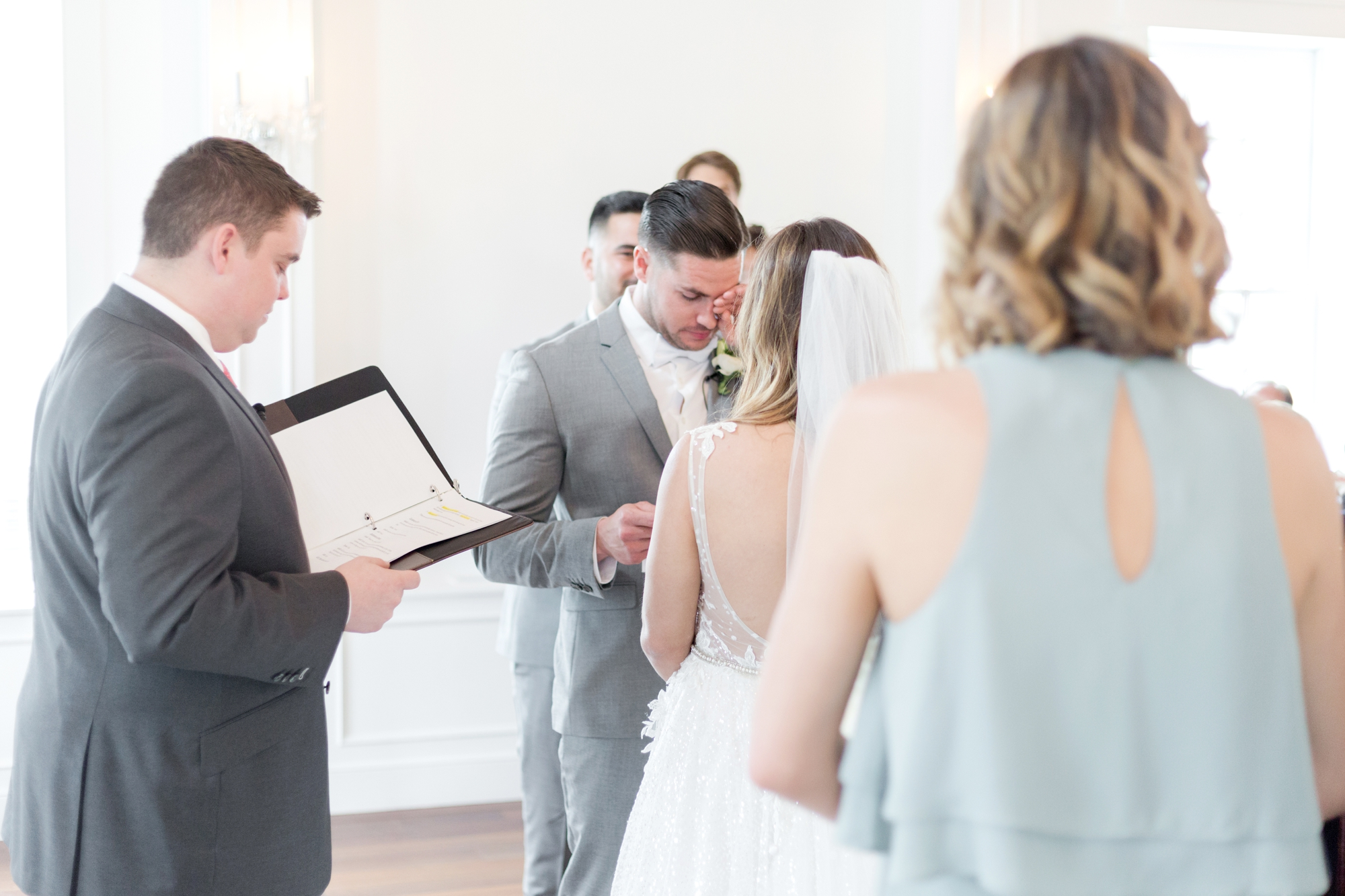 groom cries during vows