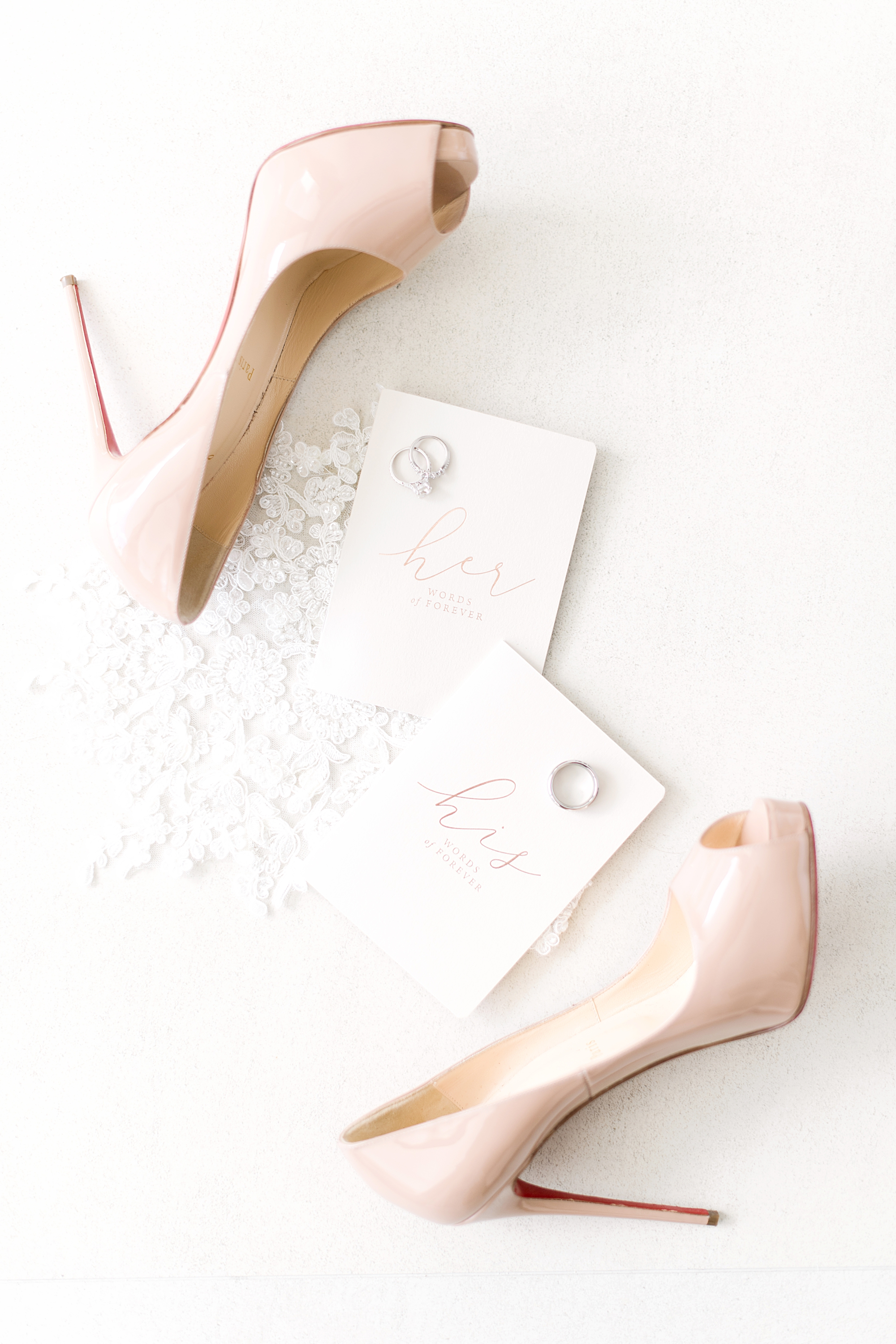 Louboutin wedding nude patent pumps