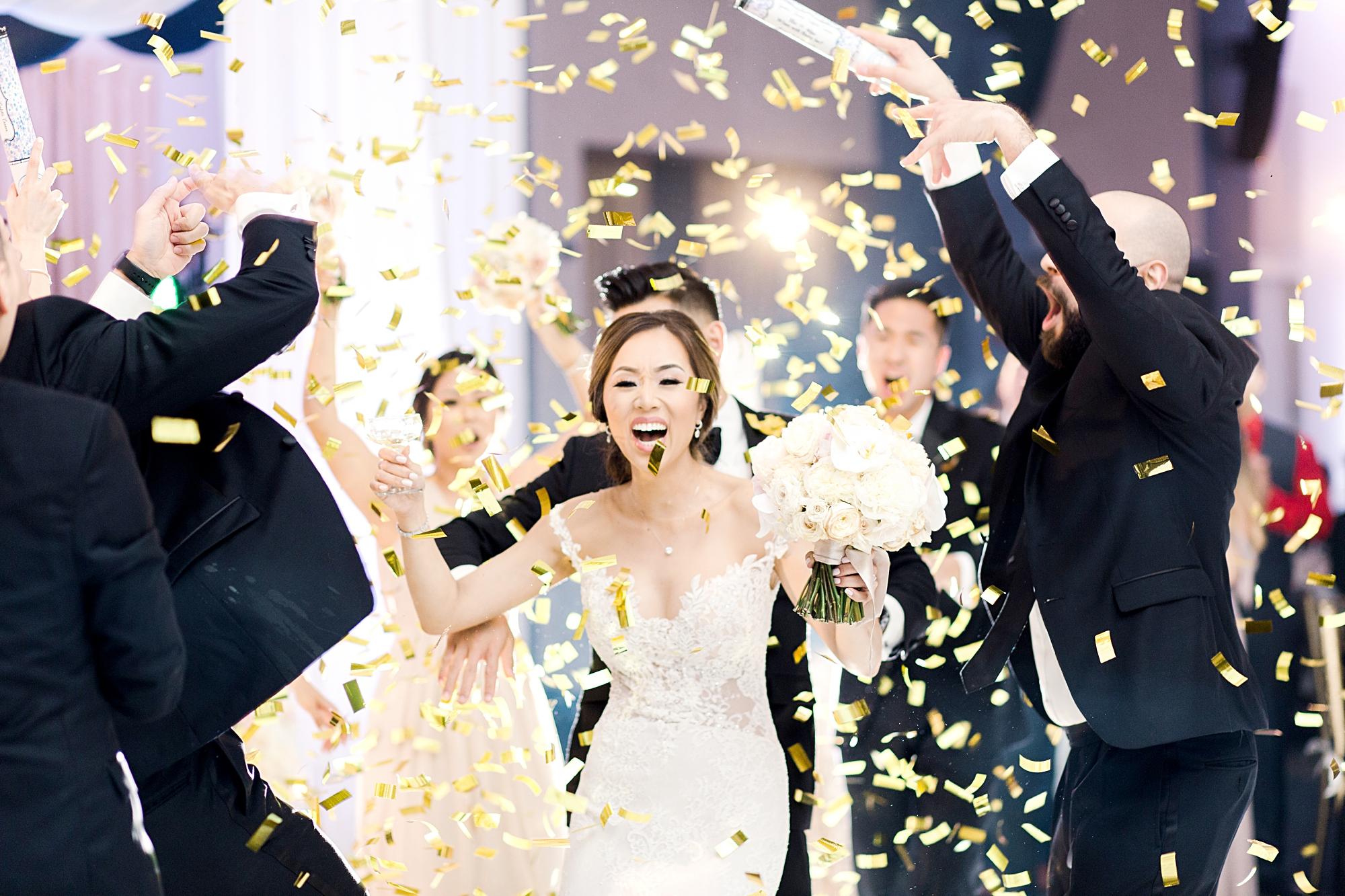 bride in confetti