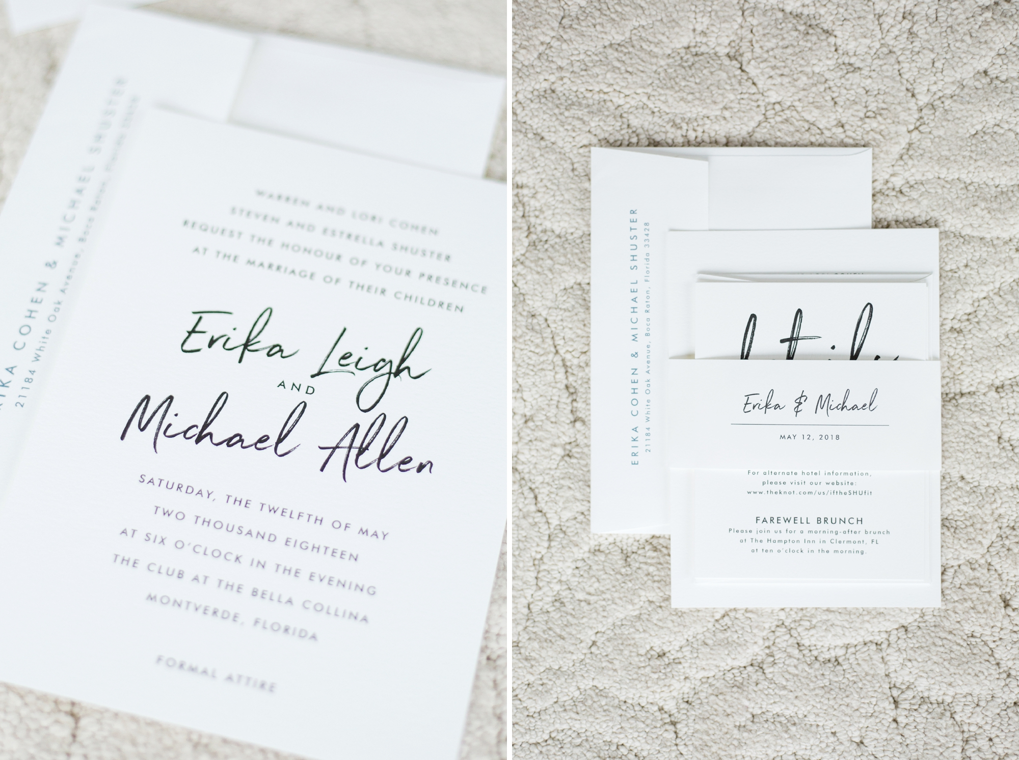 modern romantic minted wedding stationery