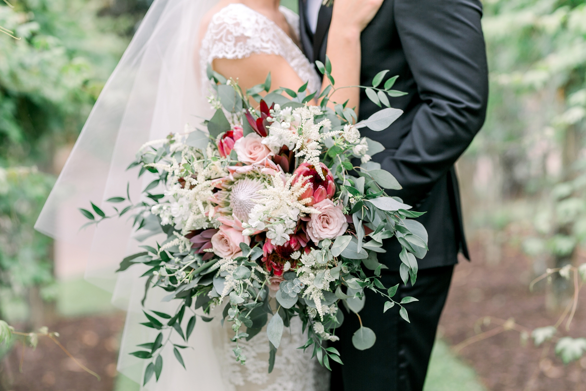 beautiful wedding bouquet with protea