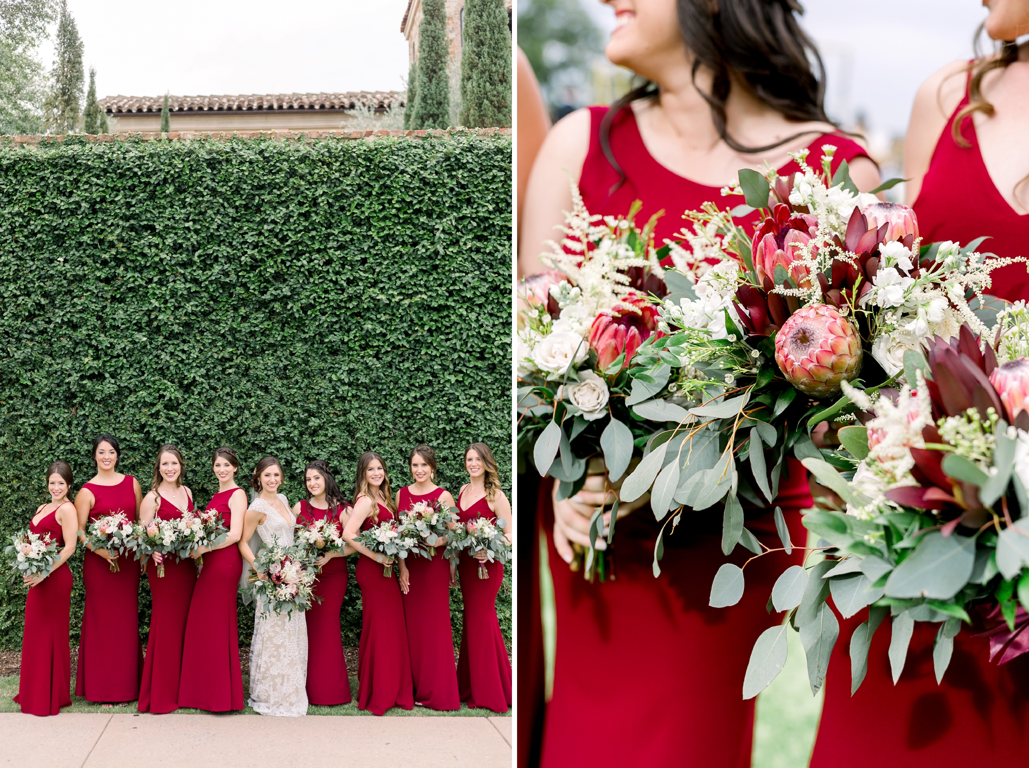 bridesmaids bouquets with protea