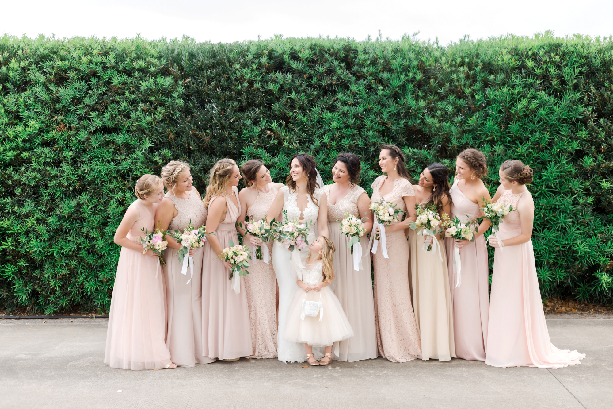 pink mix and match bridesmaid dresses