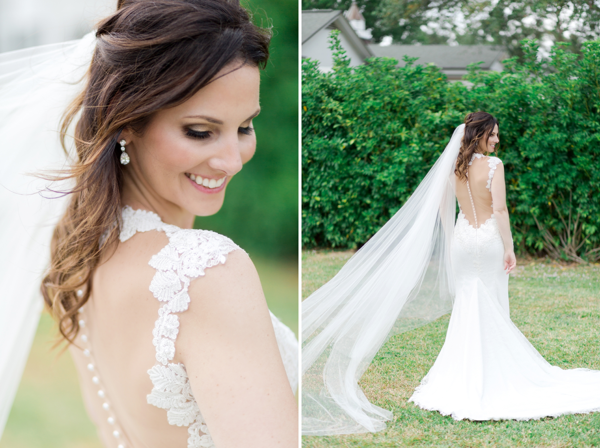 gorgeous wedding gown with illusion back