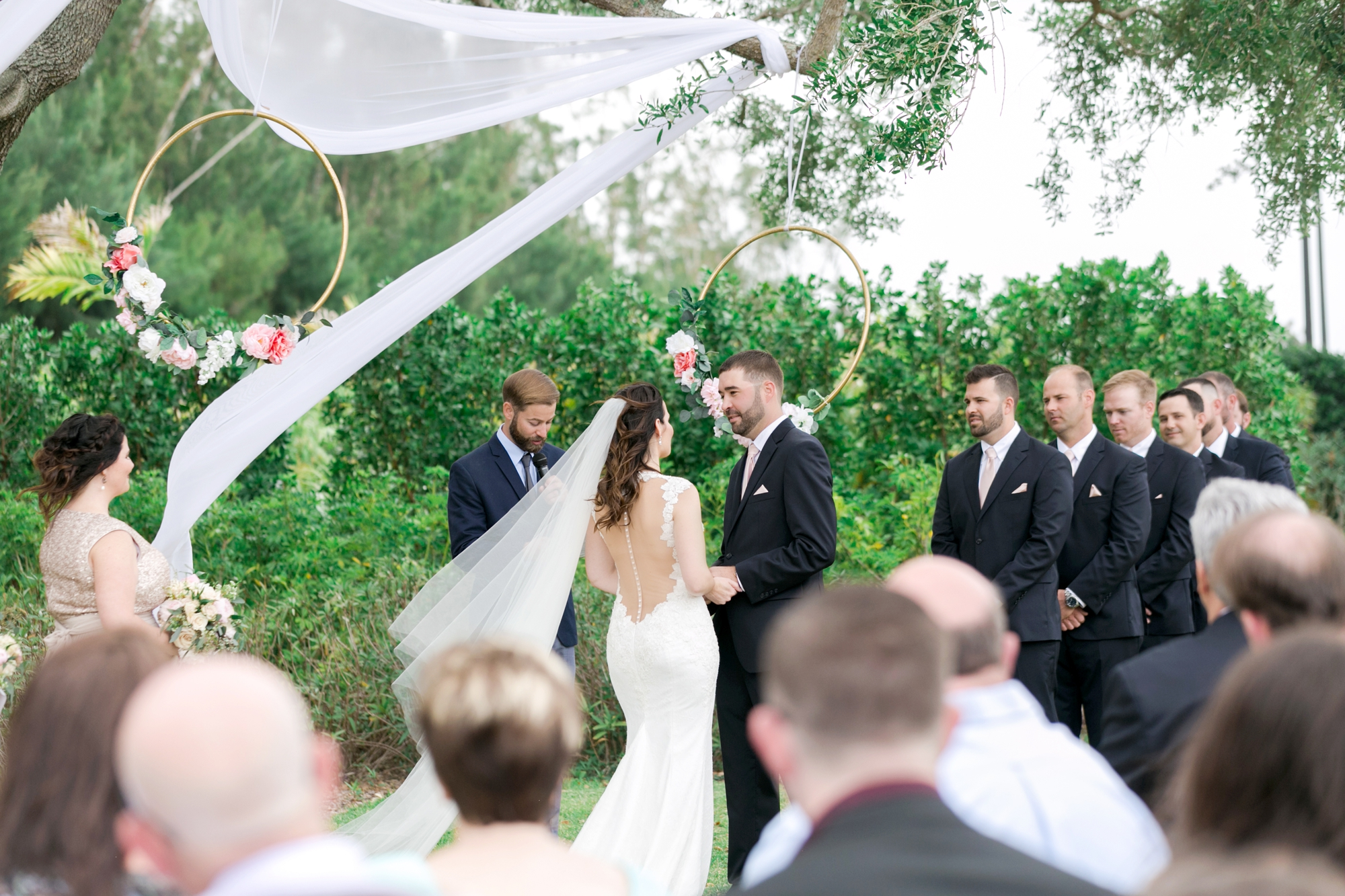 sheer drapes at outside ceremony space