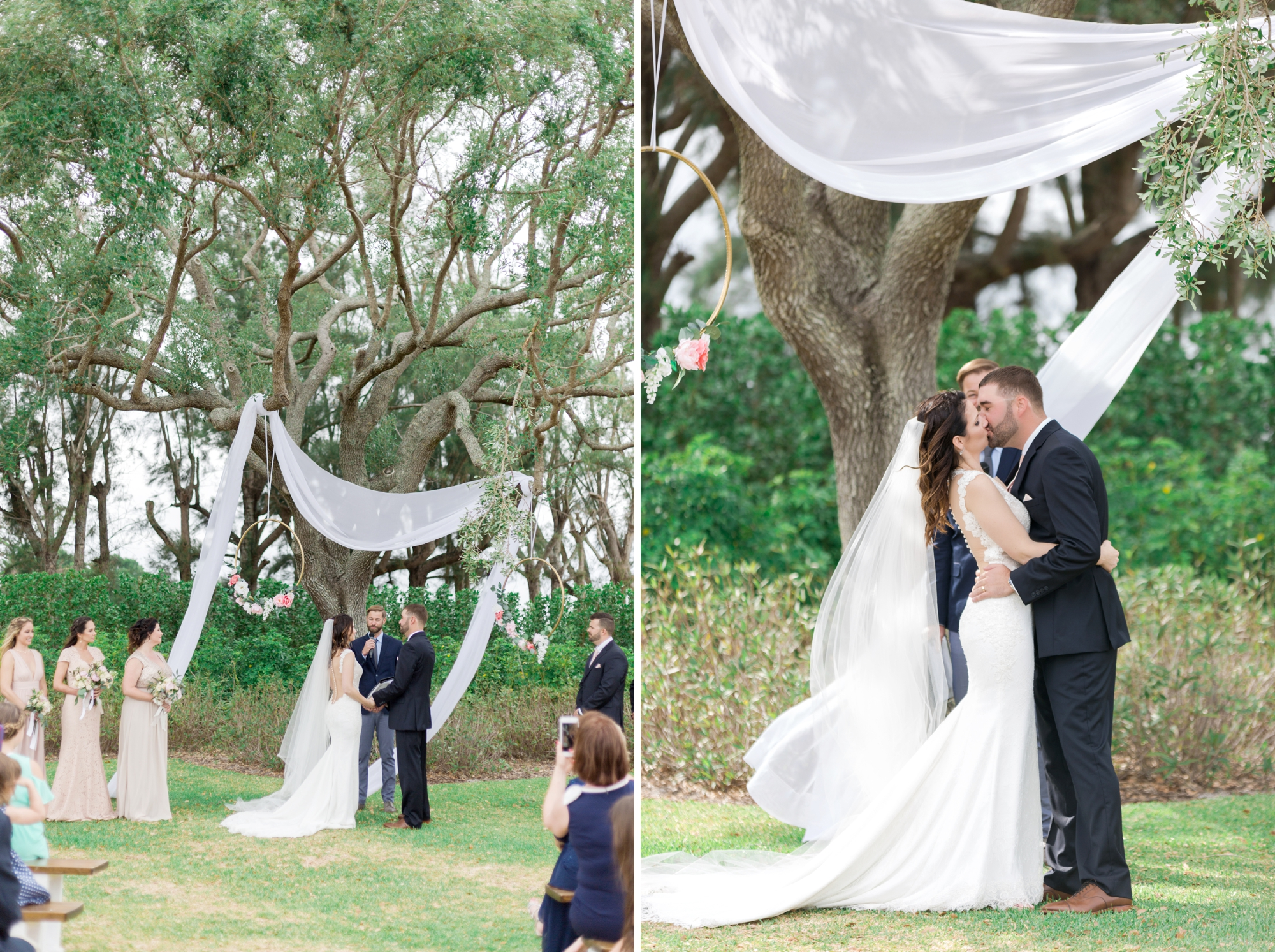 drape hanging from tree for ceremony outside