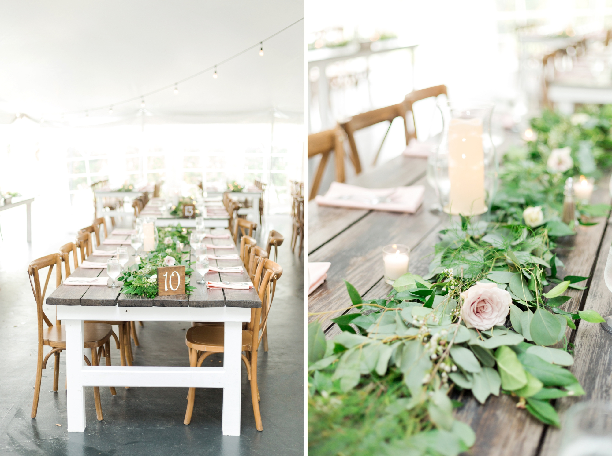 tented reception with rustic decor