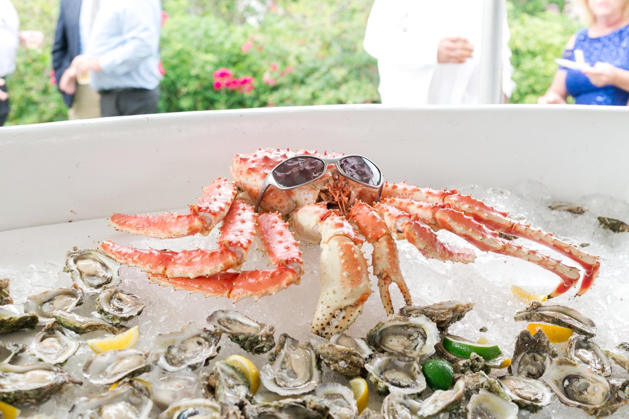 raw bar seafood display at wedding