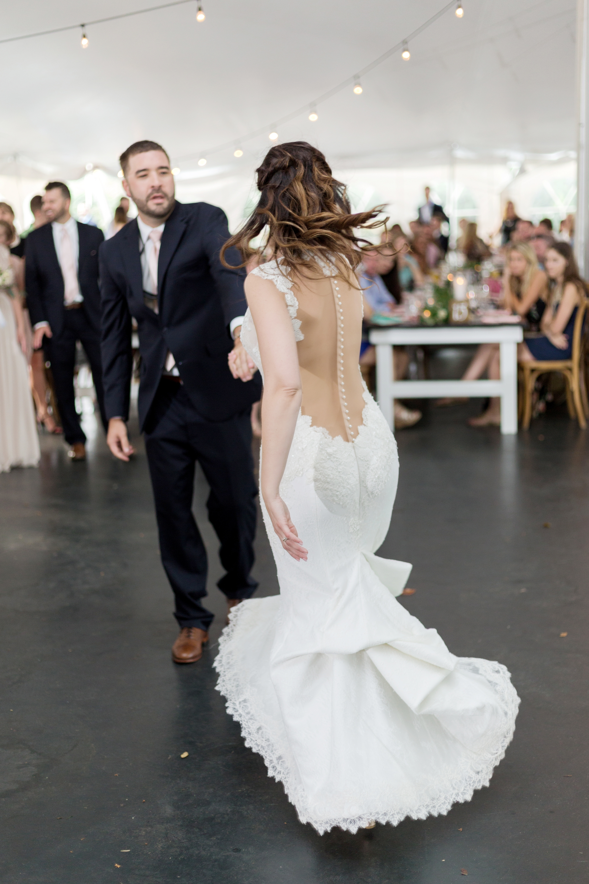 first dance in tented reception