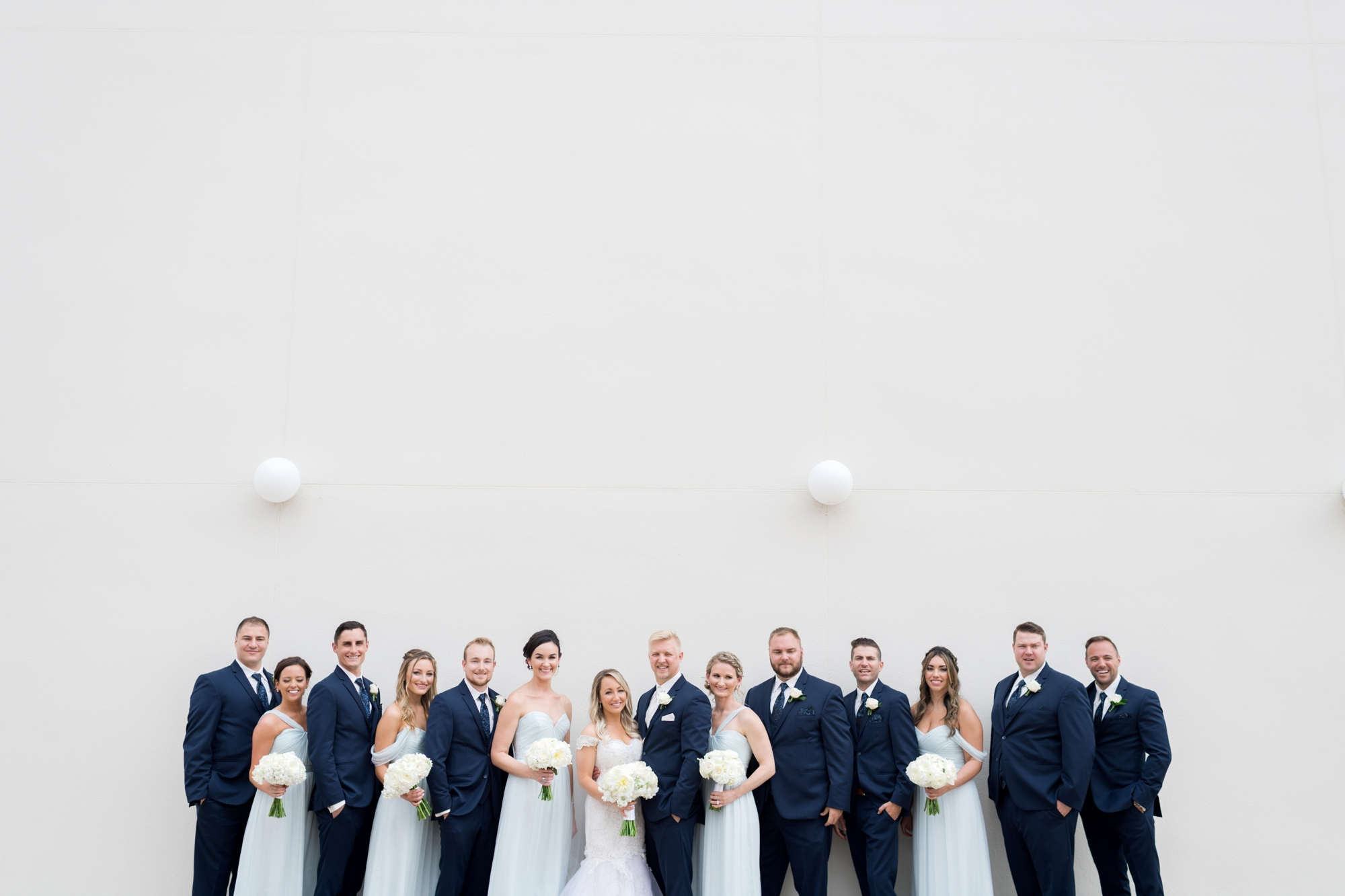 light blue and navy wedding party