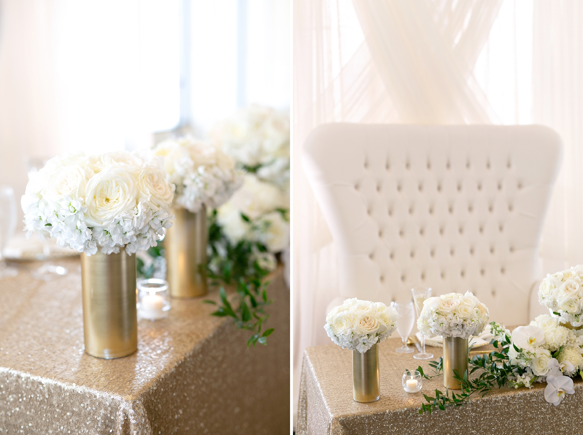 gold and white reception decor
