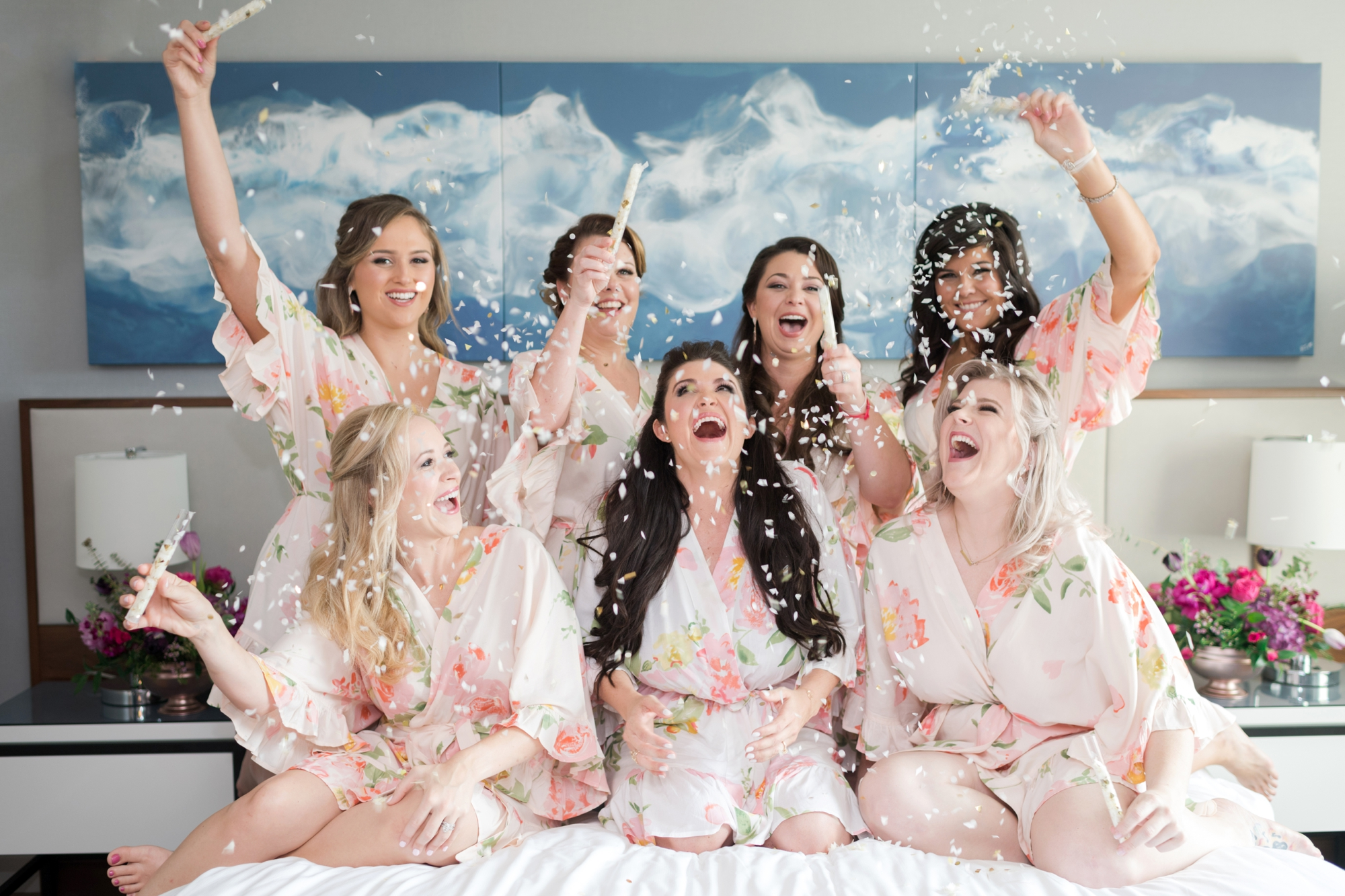 Bridesmaids confetti toss