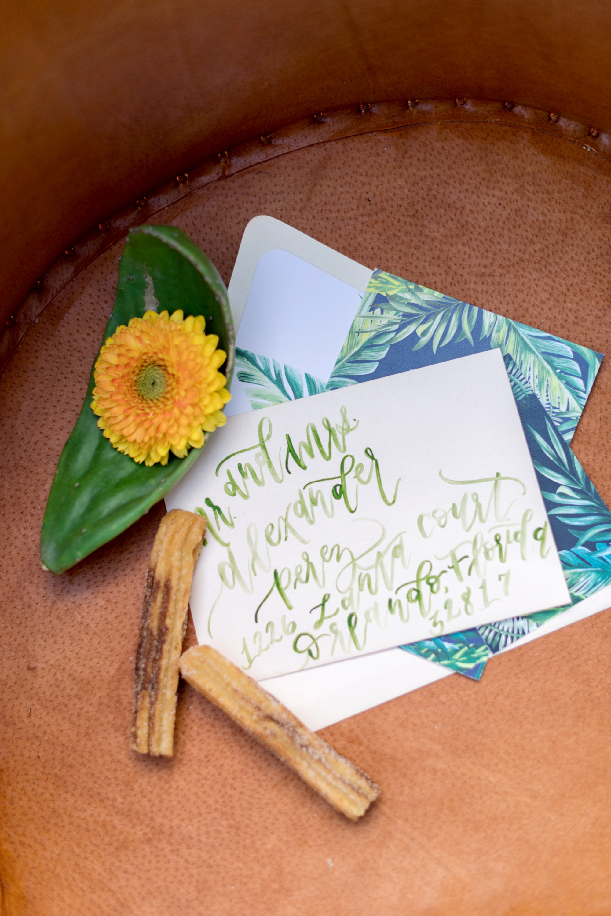 mexican inspired invitations - calligraphy