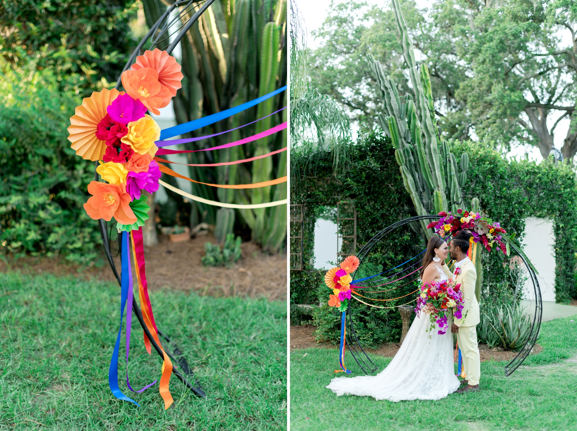 colorful wedding altar arch Mexican Spanish pride LGBT
