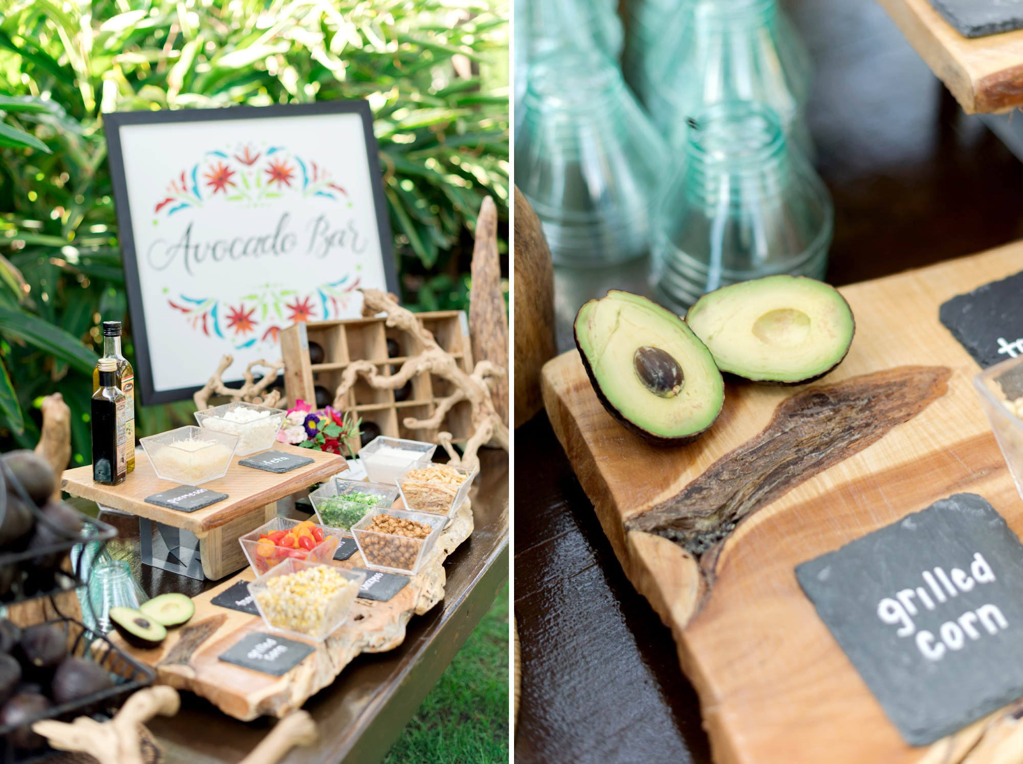 avocado bar at cocktail hour wedding