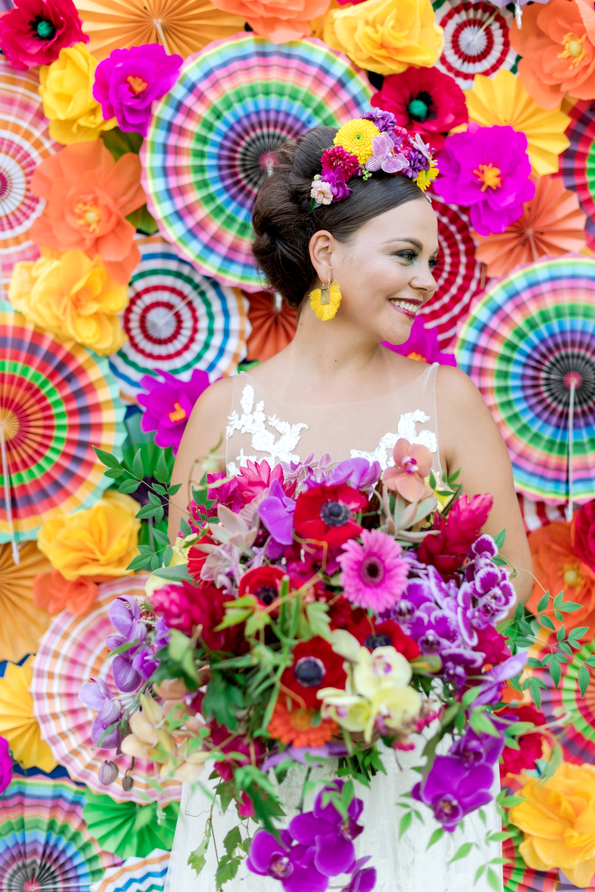 Frida Kahlo inspired wedding hair and makeup for tropical wedding