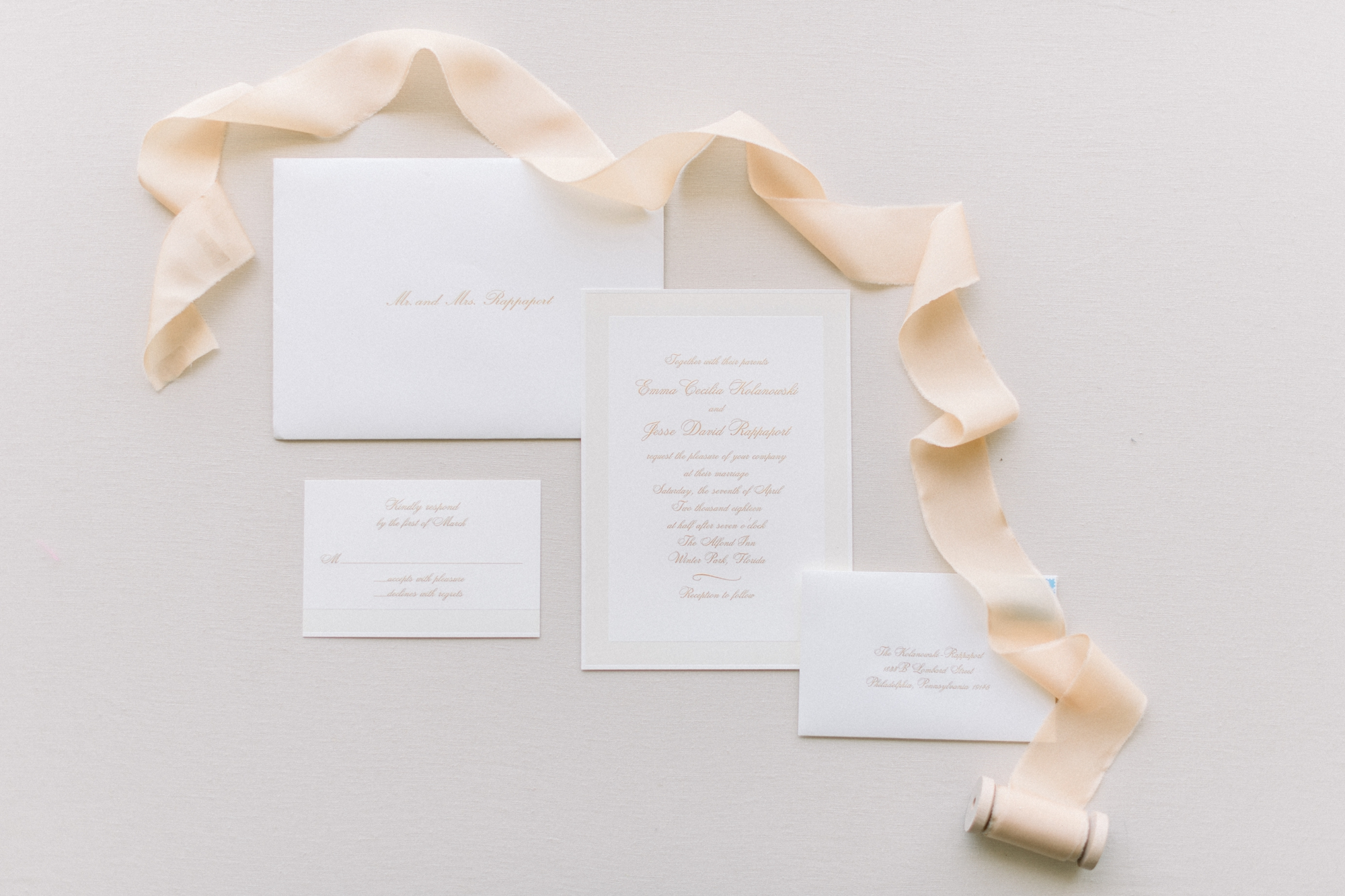 classic wedding stationery - ivory and gold