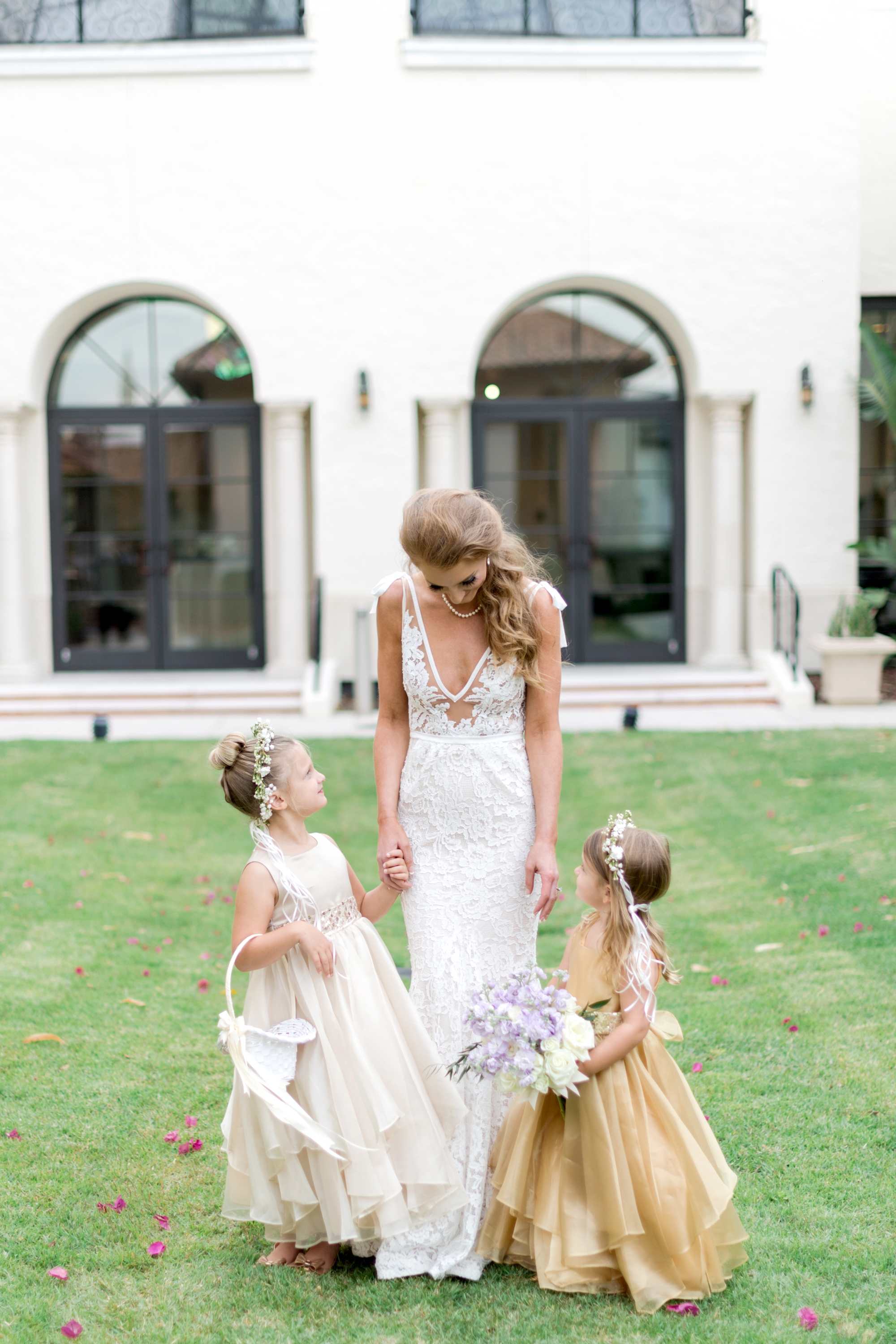 flower girls in gold dresses