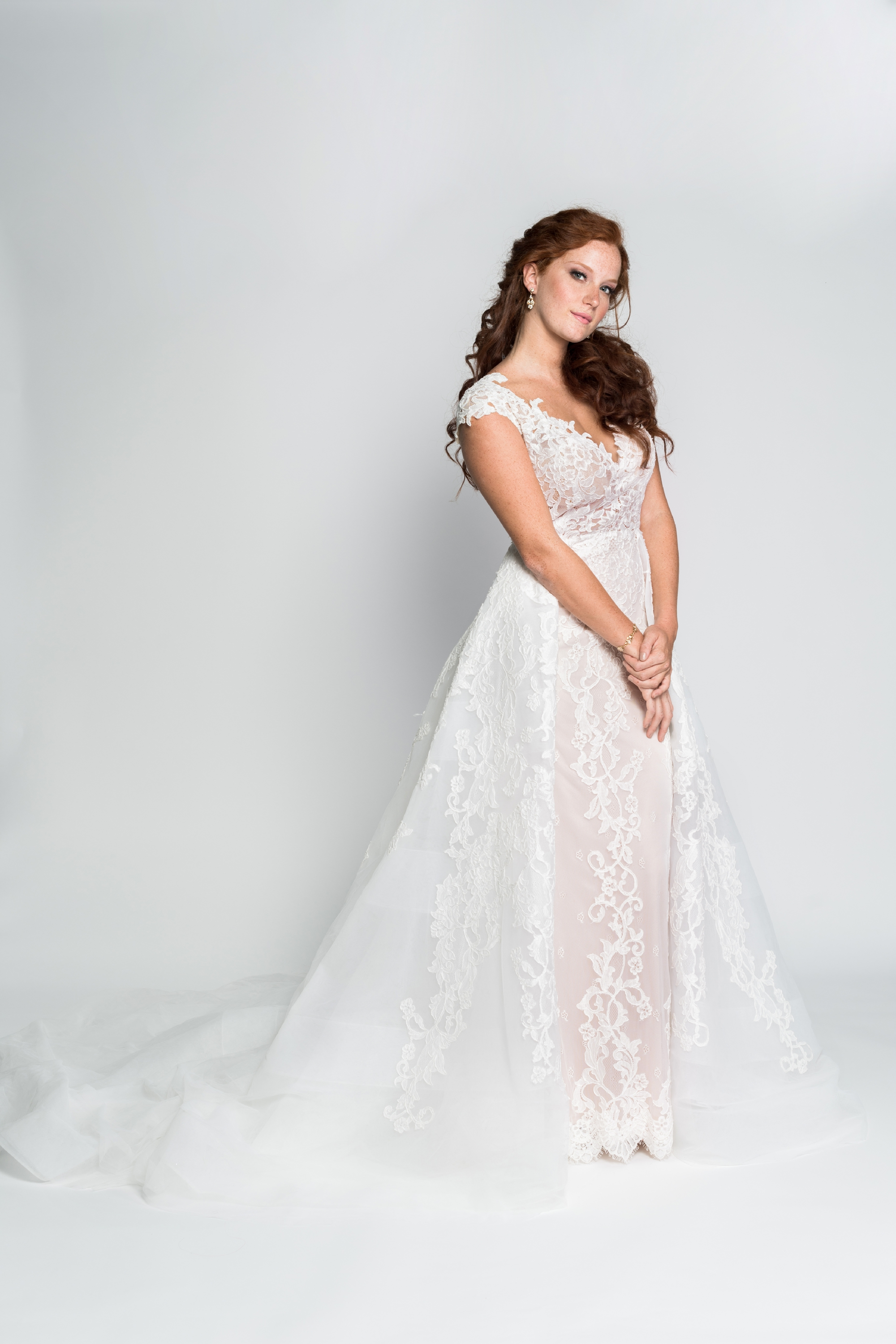 Calla Blanche Alison wedding dress with overskirt