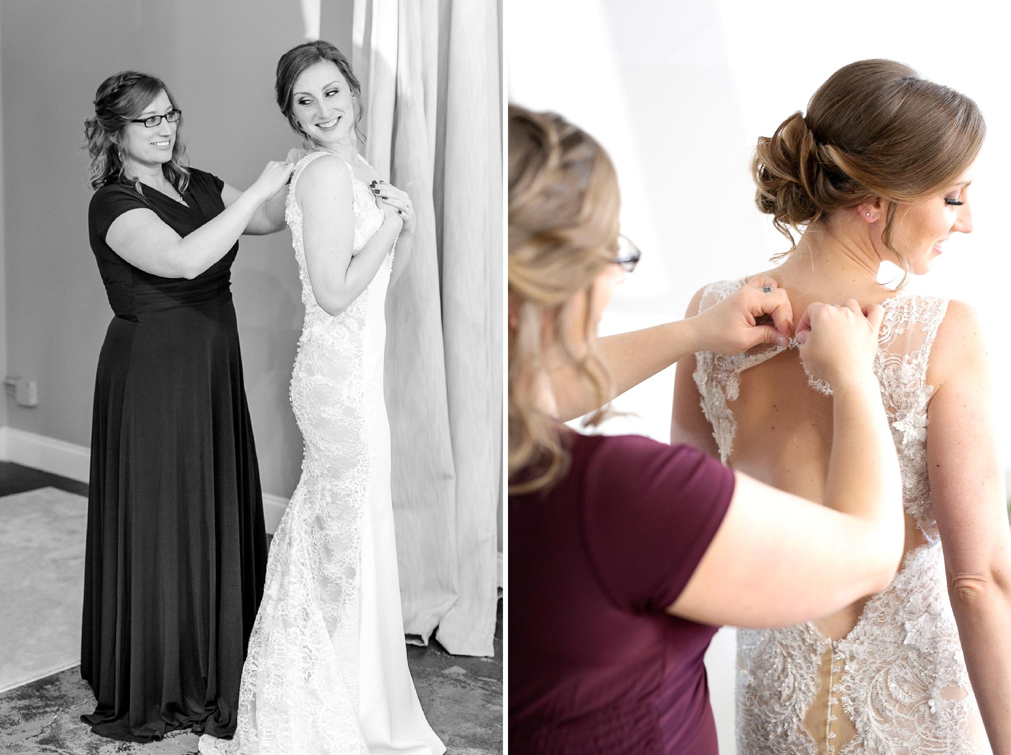 bride gets dressed