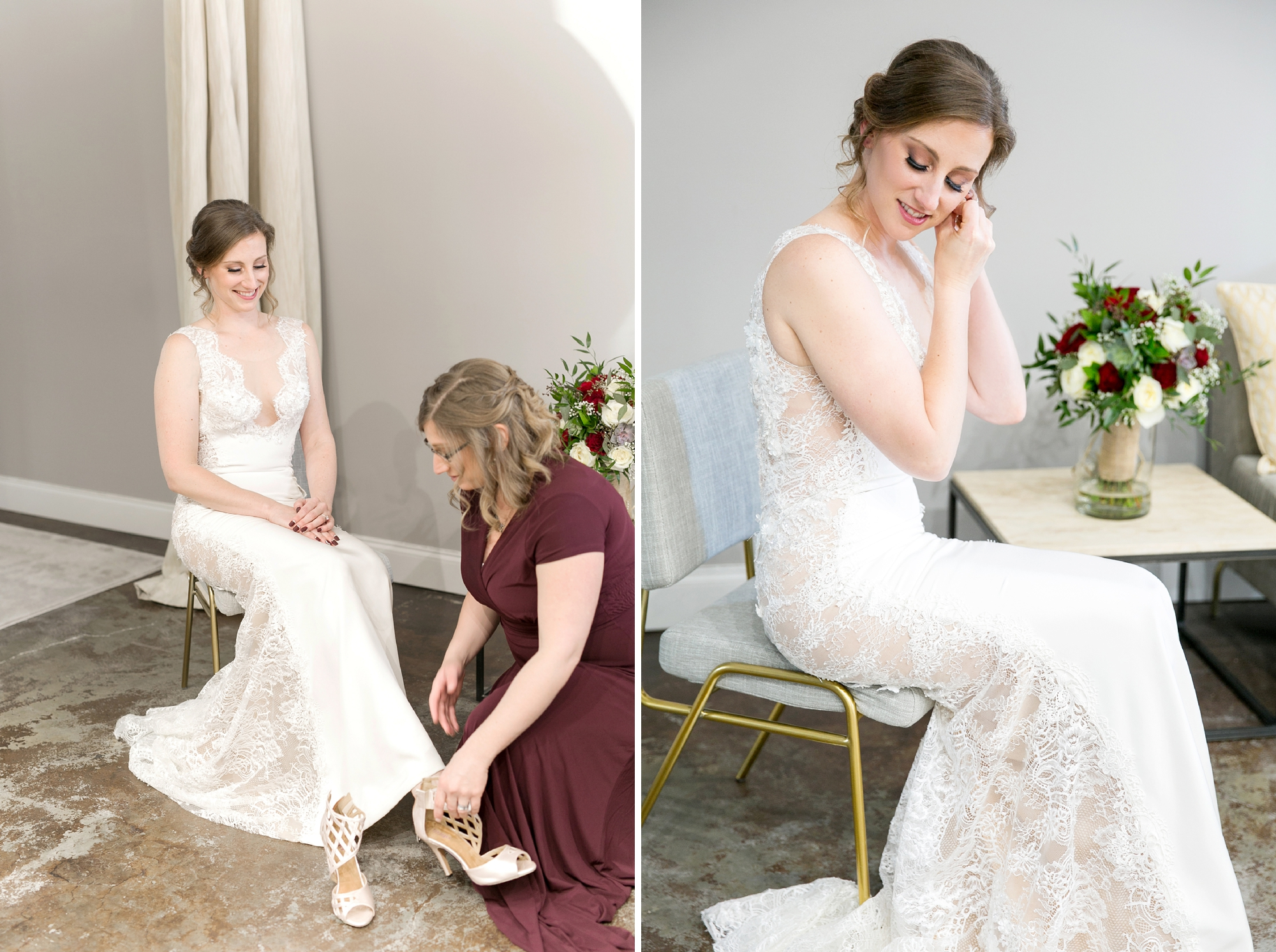 bride getting dressed for intimate wedding